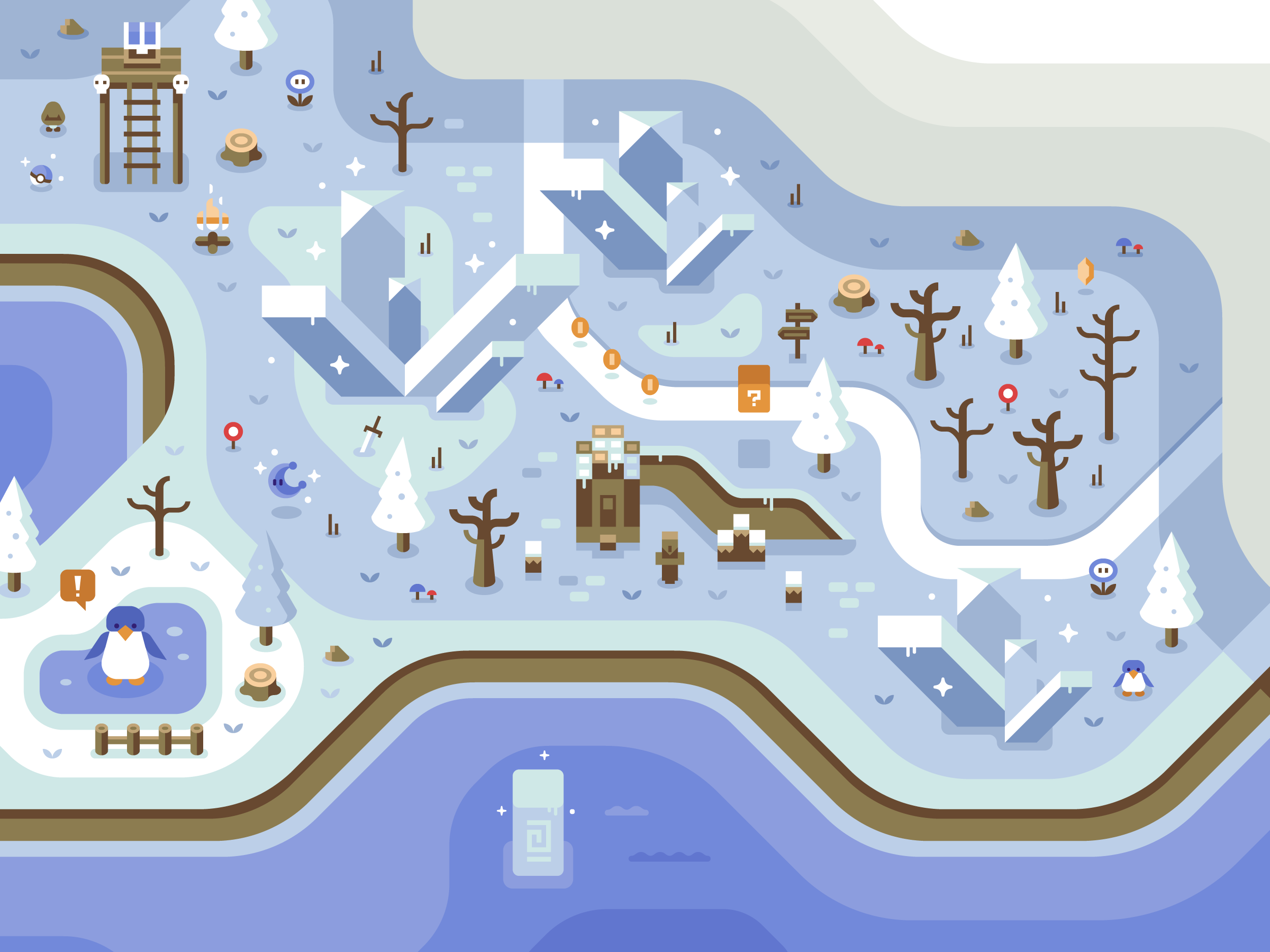 Mario 64 Penguin, Discord Office Mural illustrations by Matt Anderson and Canopy Design and Illustration