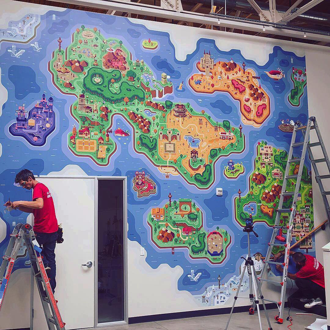Mural installation process, Discord Office Mural illustrations by Matt Anderson and Canopy Design and Illustration