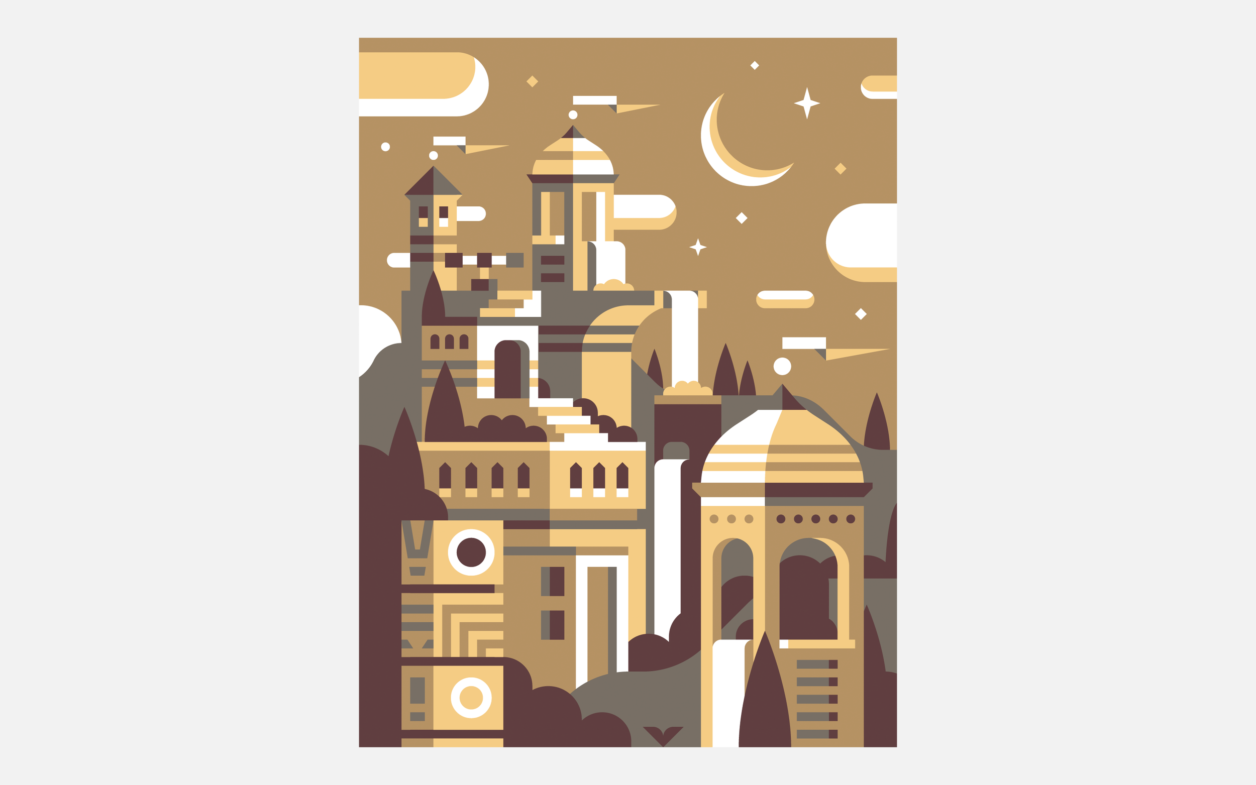 Fortress Monument Valley, Discord Office Divider illustrations by Matt Anderson and Canopy Design and Illustration