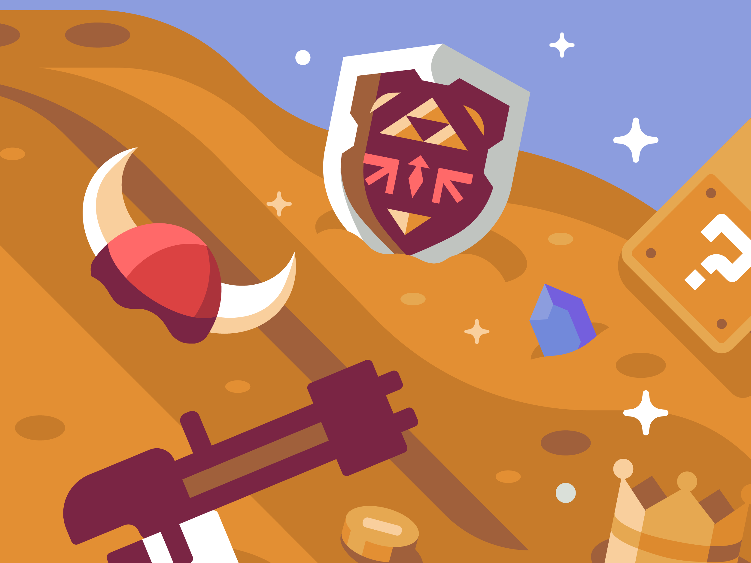 Mountains of Loot Hylian Shield, Discord Mural illustrations by Matt Anderson and Canopy Design and Illustration