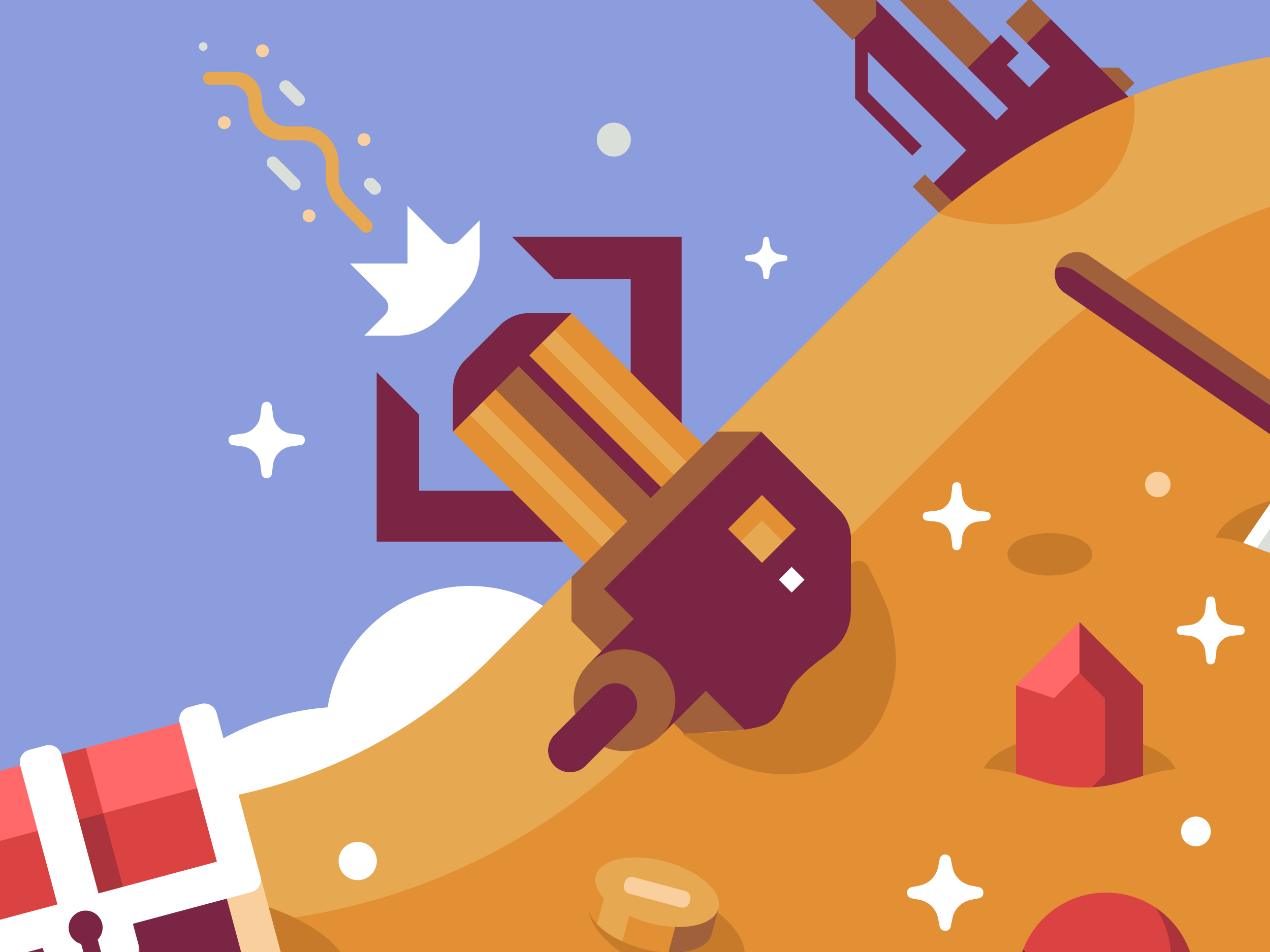 Mountains of Loot Gravity Gun, Discord Mural illustrations by Matt Anderson and Canopy Design and Illustration