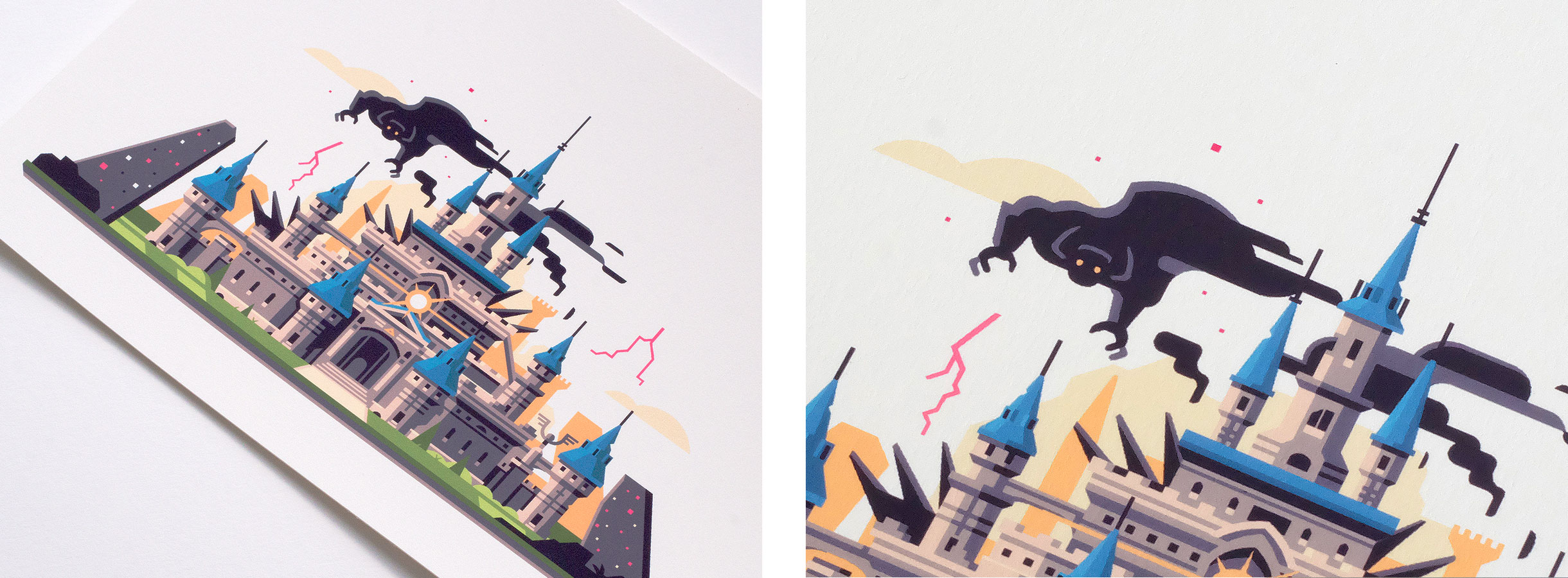 Wild series by Matt Anderson. Inspired by Zelda Breath of the Wild. Print detail of Corrupted Castle (Hyrule Castle / Calamity Ganon).