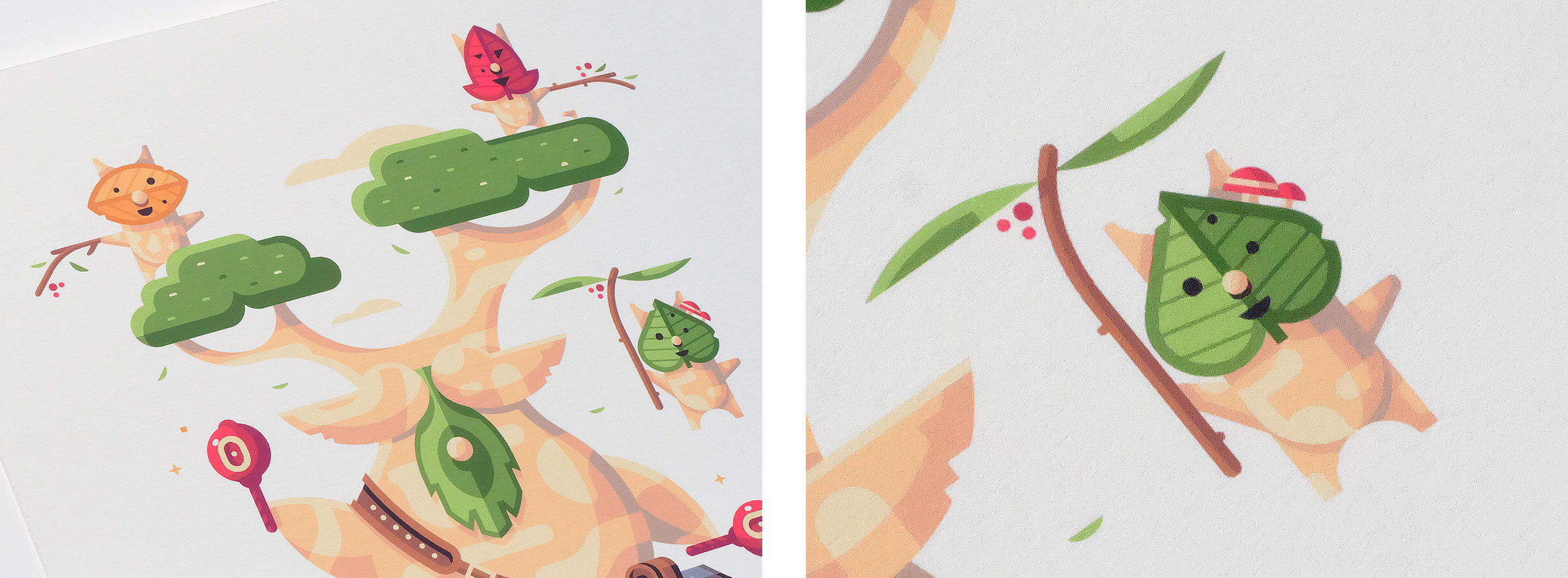 Wild series by Matt Anderson. Inspired by Zelda Breath of the Wild. Print detail of Children of the Forest (Hestu / Koroks).