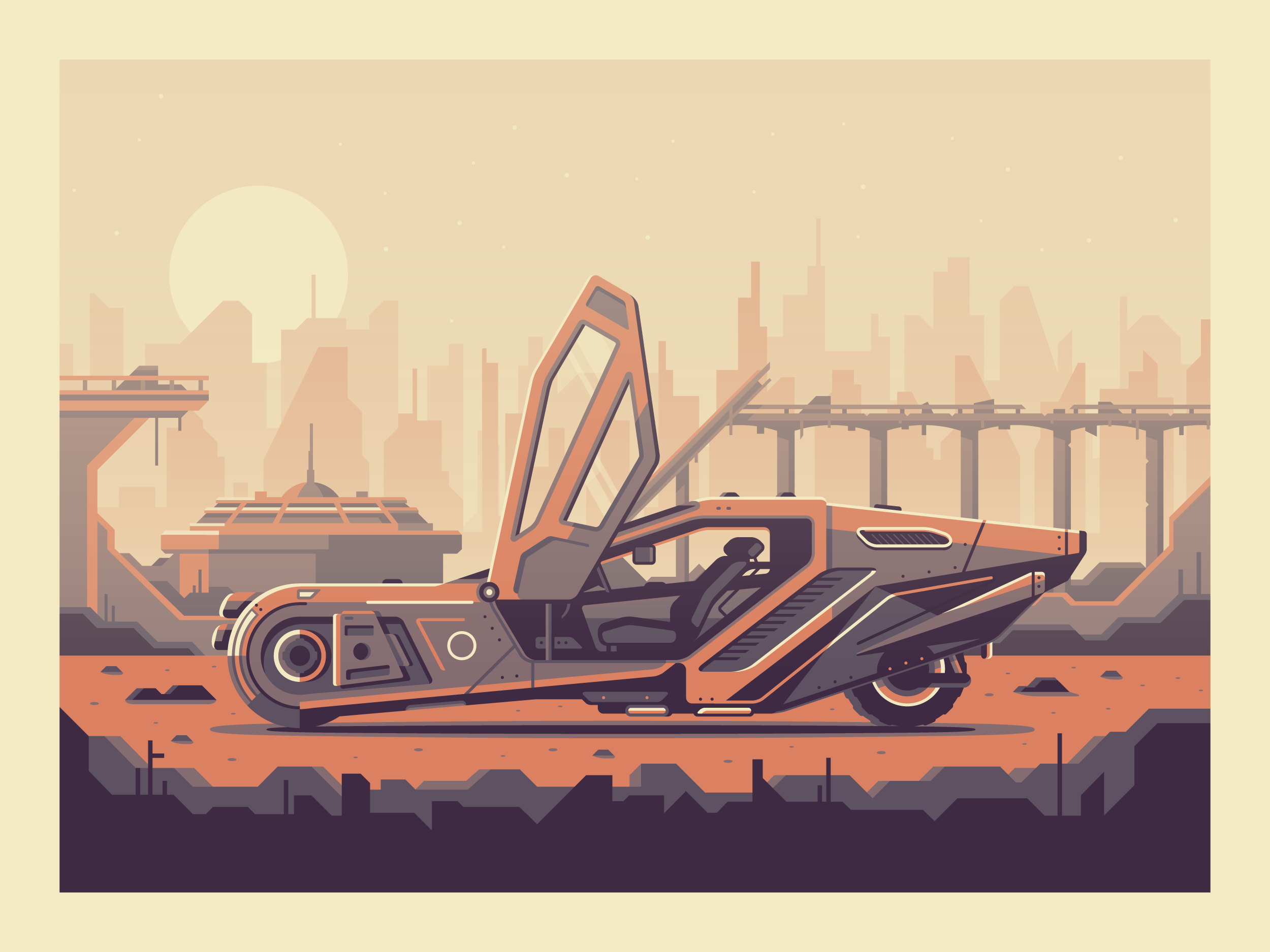 Blade Runner 2049 by Matt Anderson. Illustration of K's car from Blade Runner.