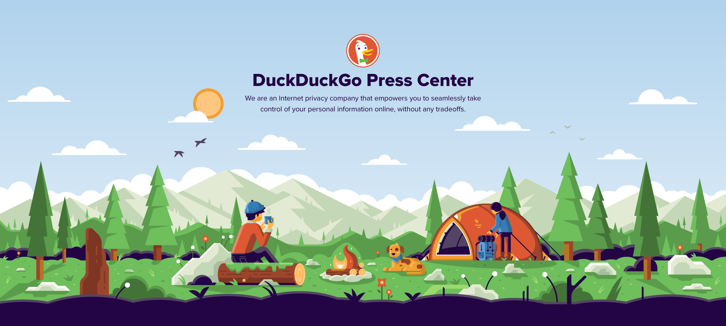 Matt Anderson DuckDuckGo hero illustration campers at campfire.