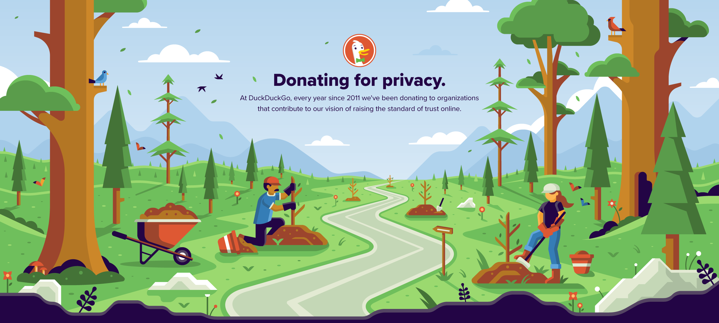 Matt Anderson DuckDuckGo hero illustration donating and planting trees.