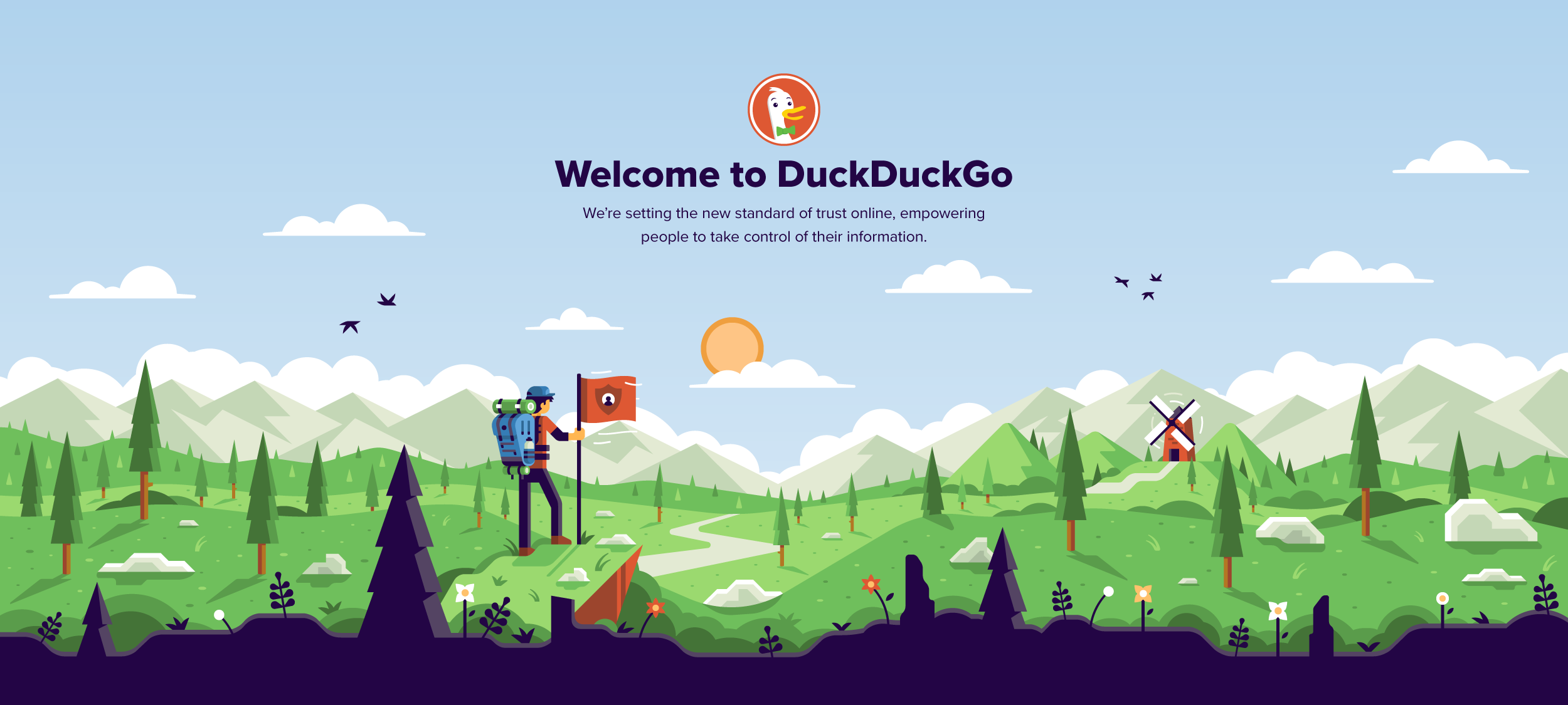 Matt Anderson DuckDuckGo hero illustration hiker alpinist.