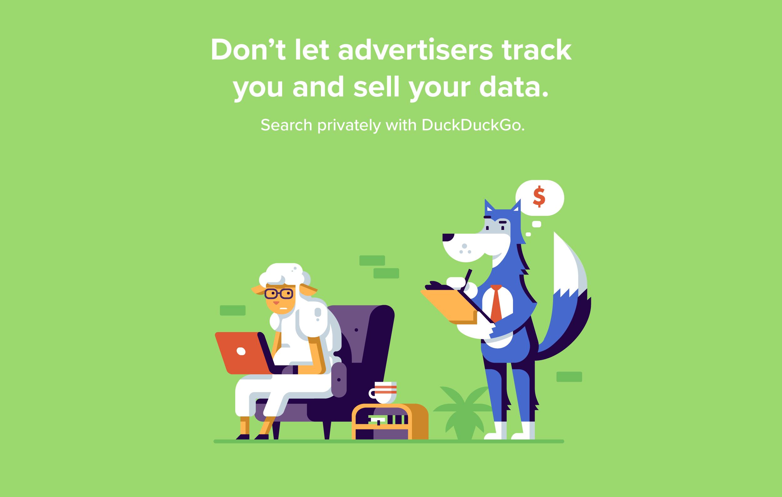 Matt Anderson DuckDuckGo character scenes. Wolf advertiser creeps on sheep internet user.
