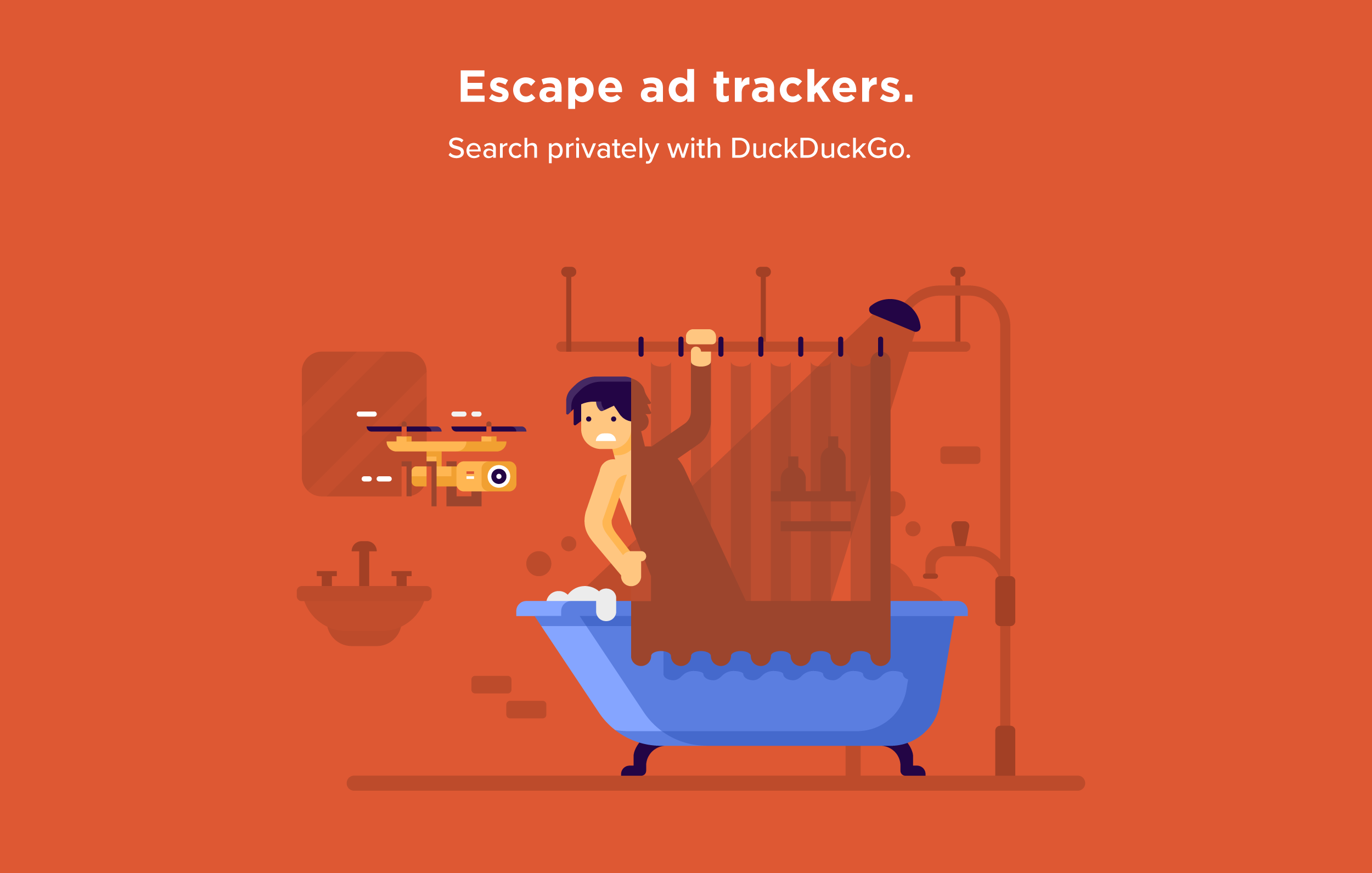 Matt Anderson DuckDuckGo character scenes. Creepy drone tracking man in home.