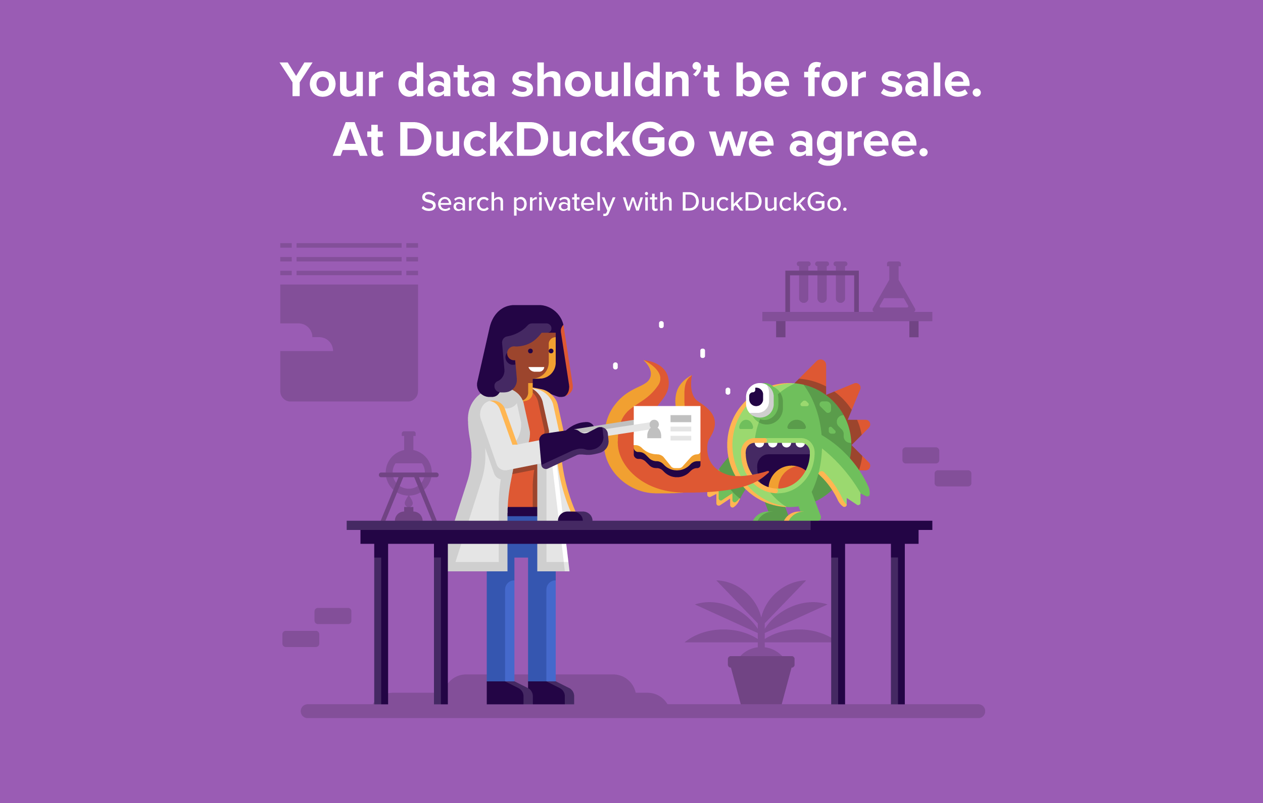 Matt Anderson DuckDuckGo character scenes. Scientist burning data with fire breathing monster.