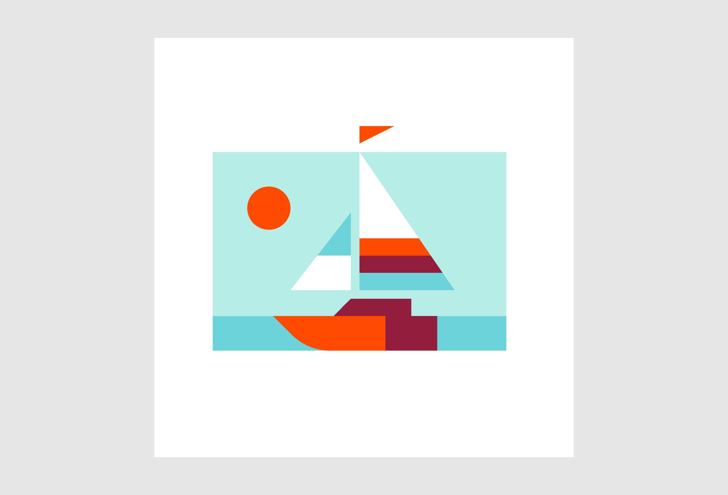 Matt Anderson geometric sailboat illustration print.
