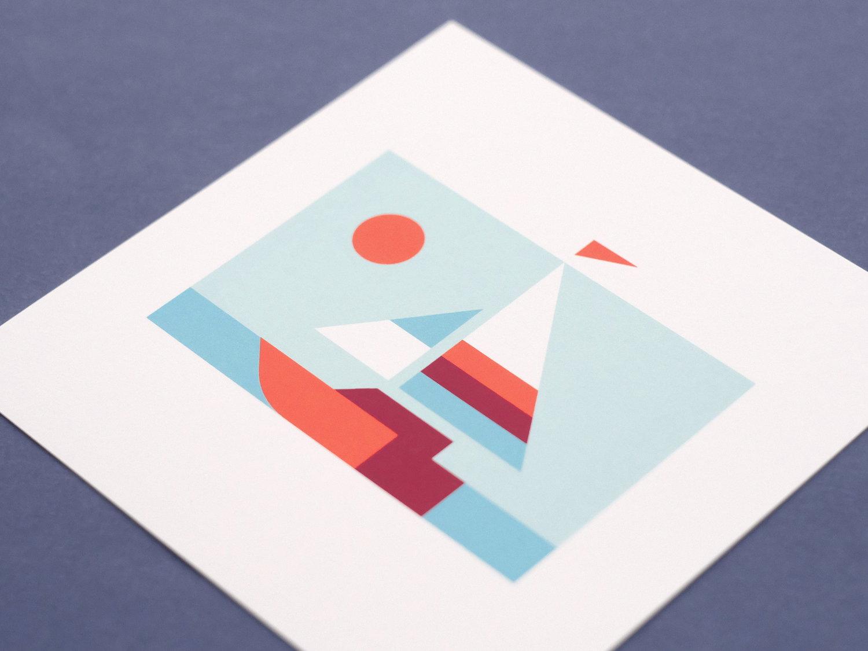 Matt Anderson geometric sailboat print.