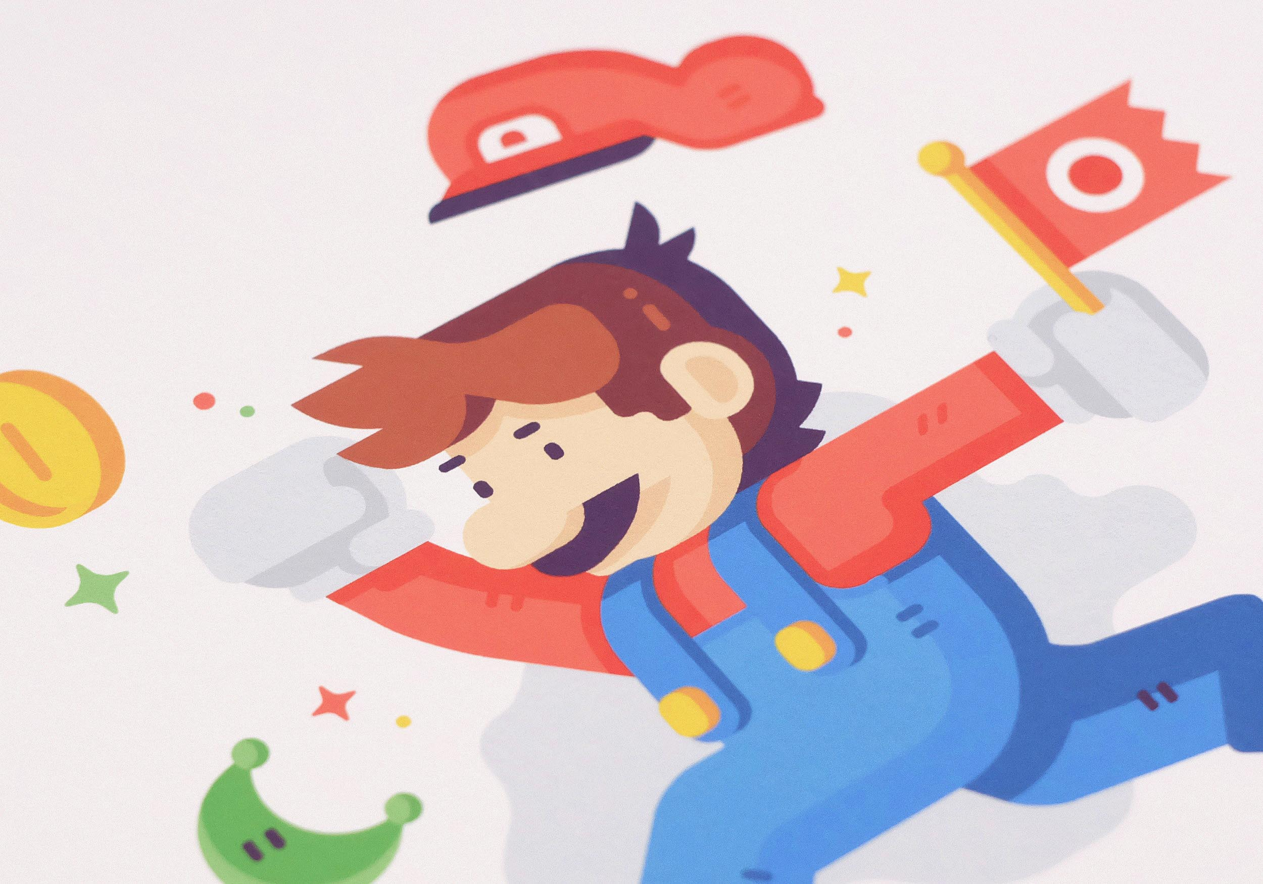 Jump Man print photo detail Matt Anderson. Inspired by Super Mario Odyssey.