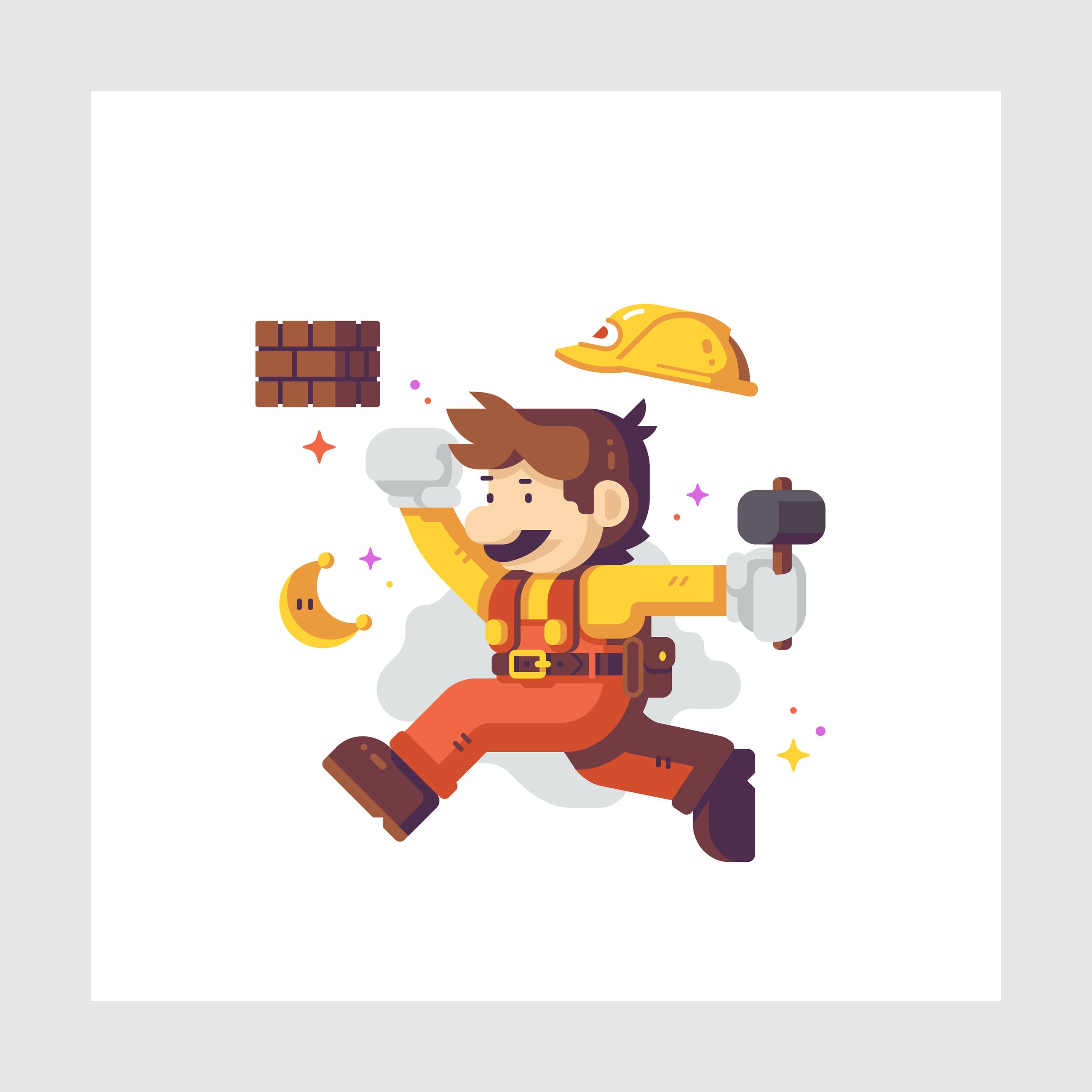 Jump Man Builder detail Matt Anderson. Inspired by Super Mario Odyssey.