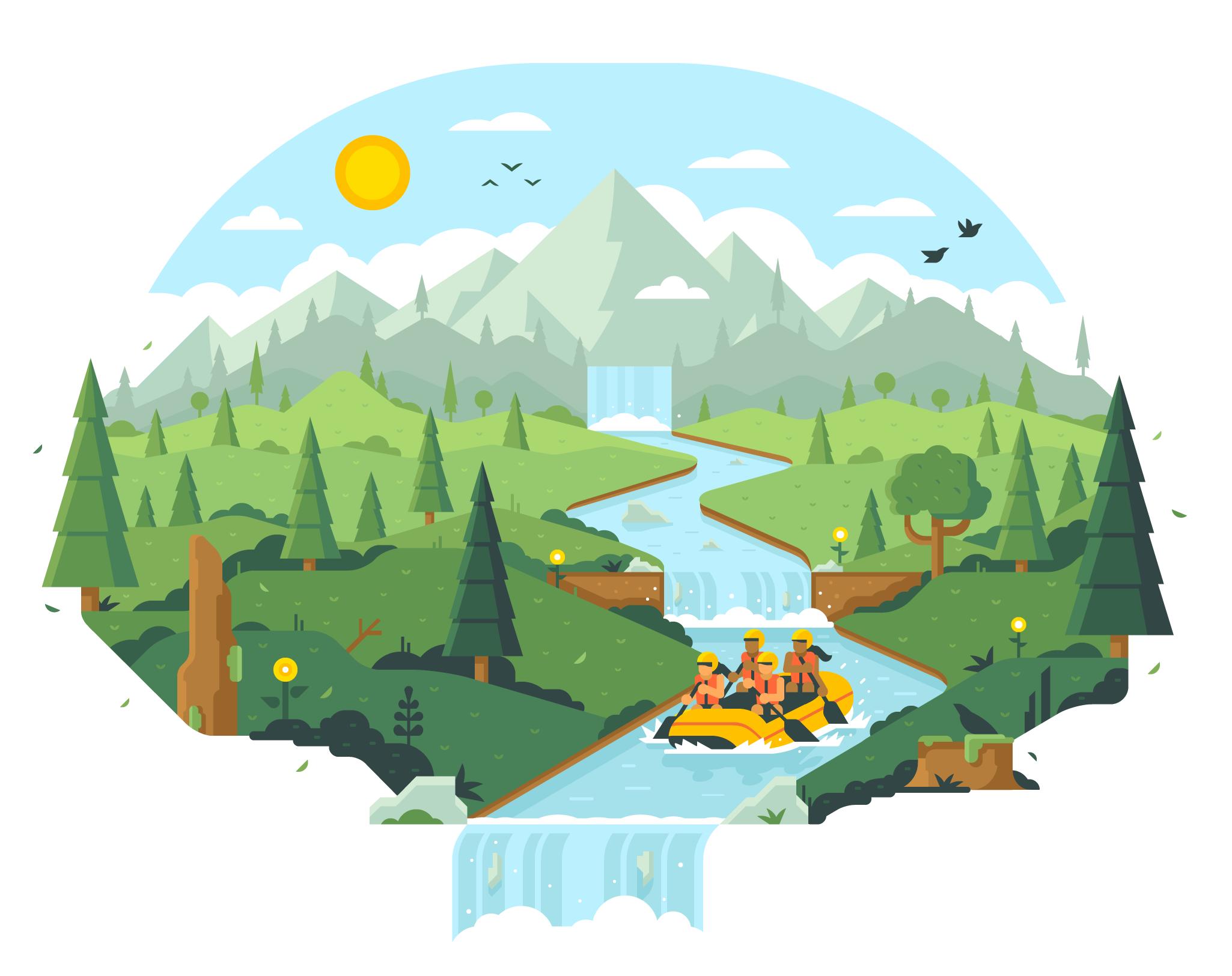 CSS Healthcare Website Illustrations by Matt Anderson - White Water Rafting Hero Illustration