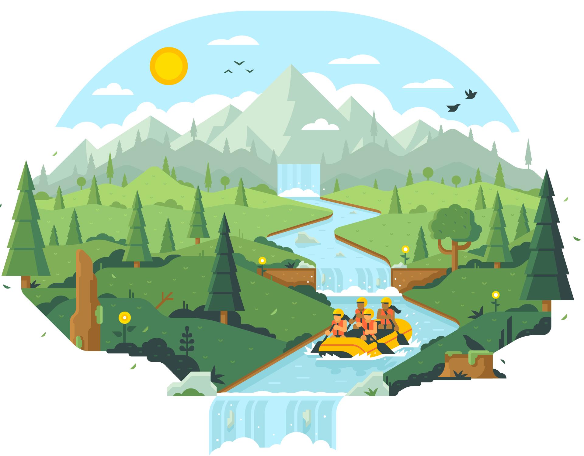CSS Healthcare Website Illustrations by Matt Anderson - White Water Rafting Hero Art