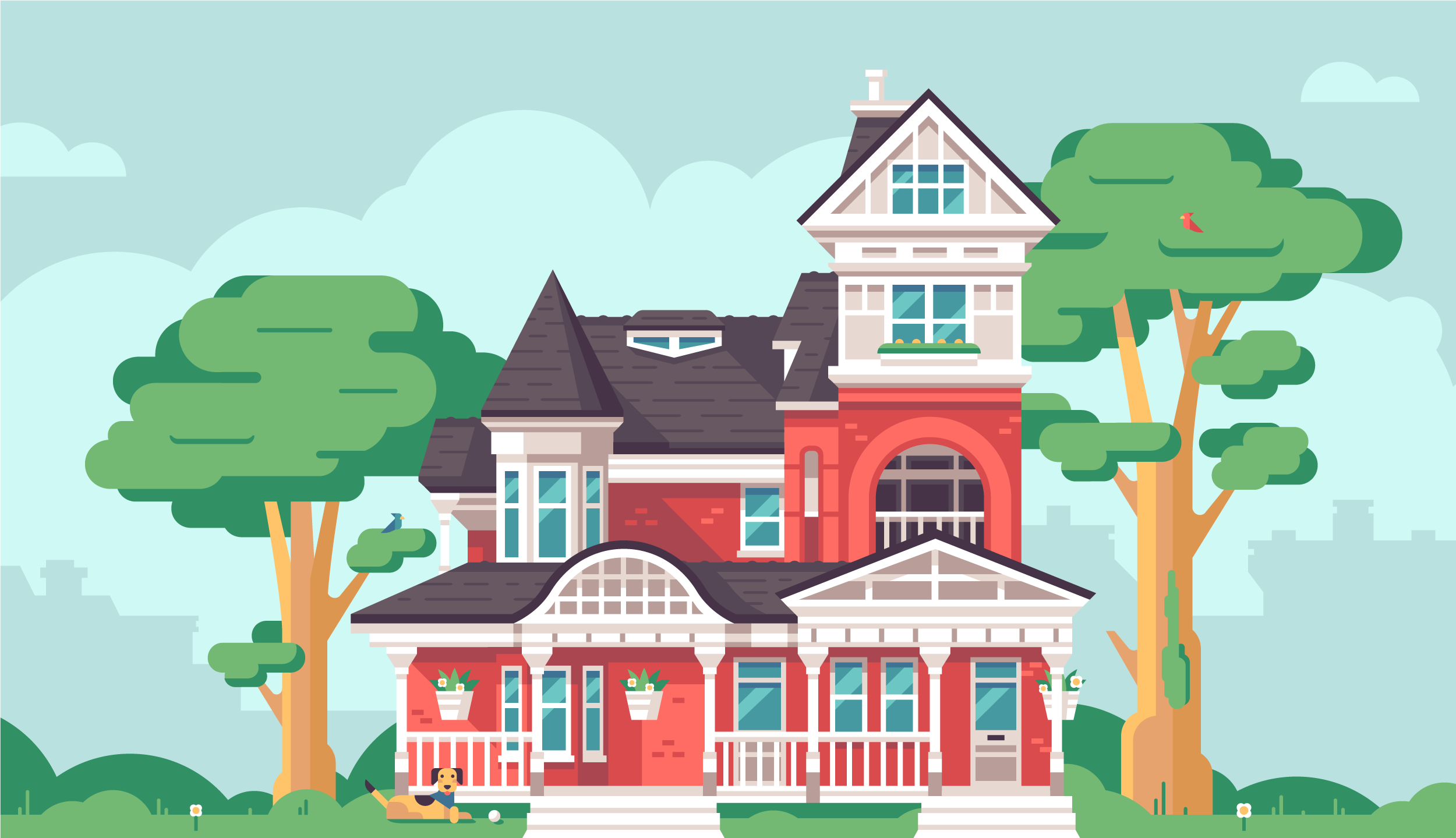Alamo Pharma Service Illustrations by Matt Anderson - Victorian House Exterior