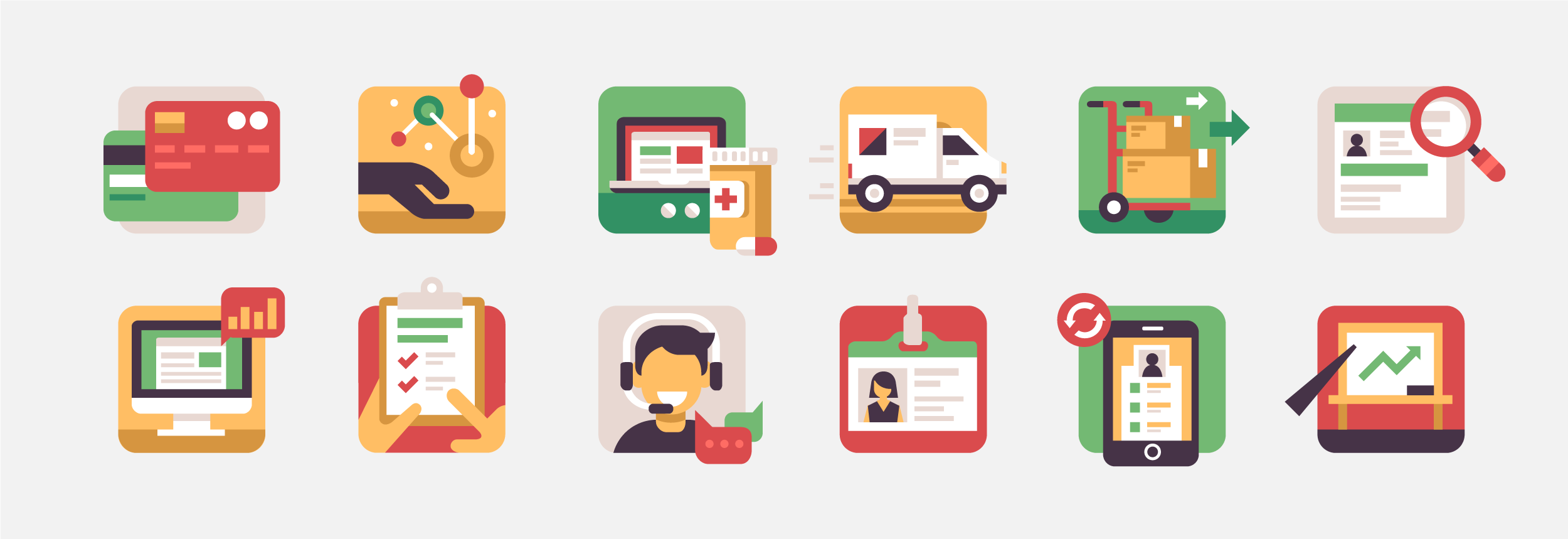 Alamo Pharma Service Illustrations by Matt Anderson - Pharma Website Icons