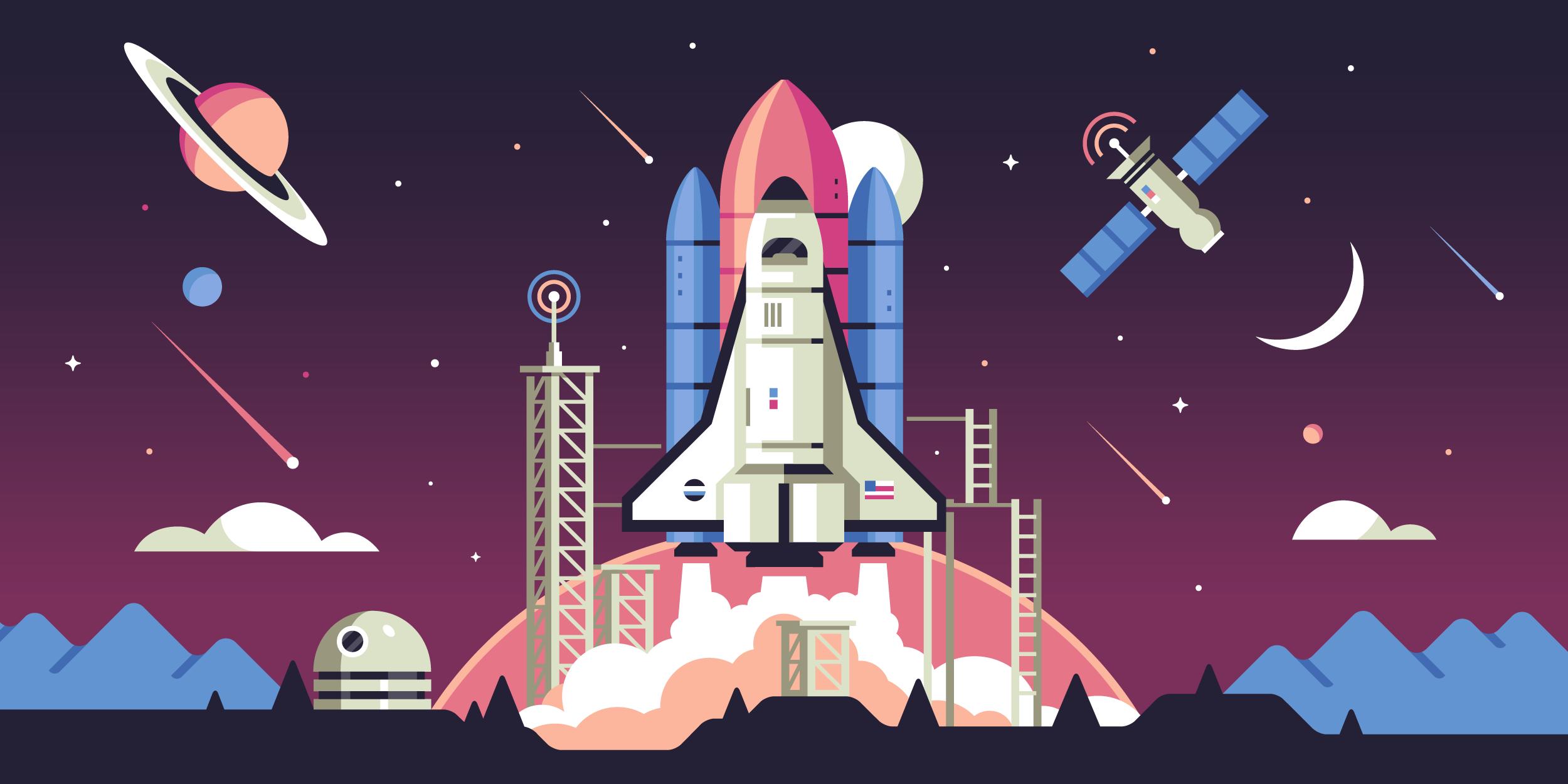 Rocket Launch / Space Illustration by Matt Anderson
