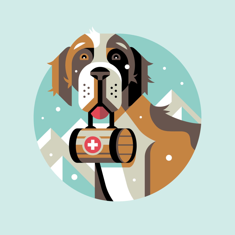 Saint Bernard Rescue Dog Illustration by Matt Anderson