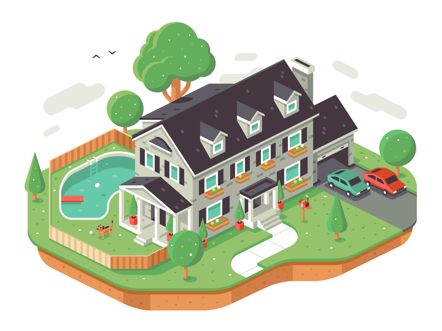 Isometric House Design for Hinged Service - Illustration by Matt Anderson
