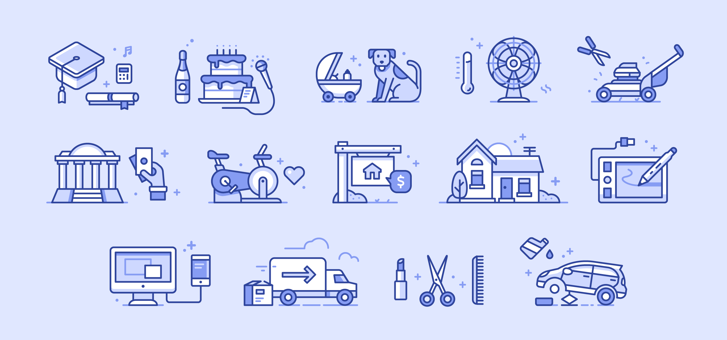 Illustrated Service Icon set for Raly - Design and Illustration by Matt Anderson