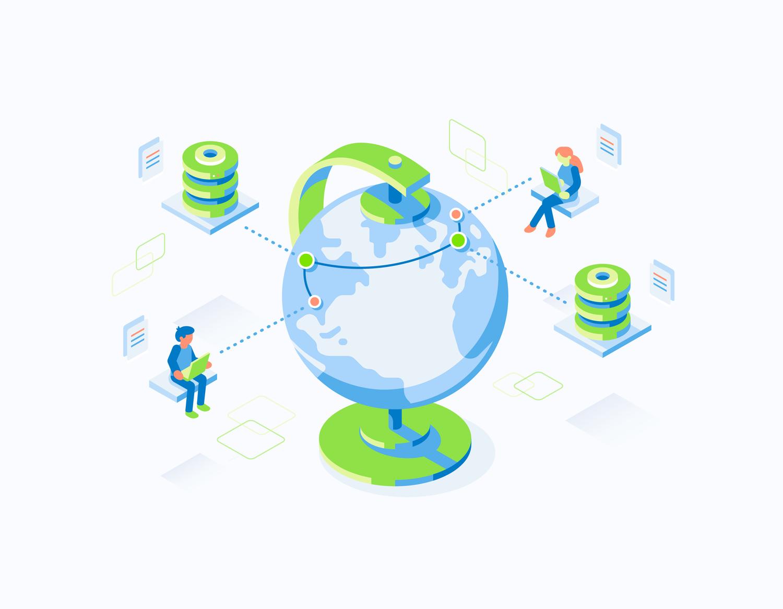 Isometric technical illustration depicting users around globe using database server network. Illustration by Matt Anderson.