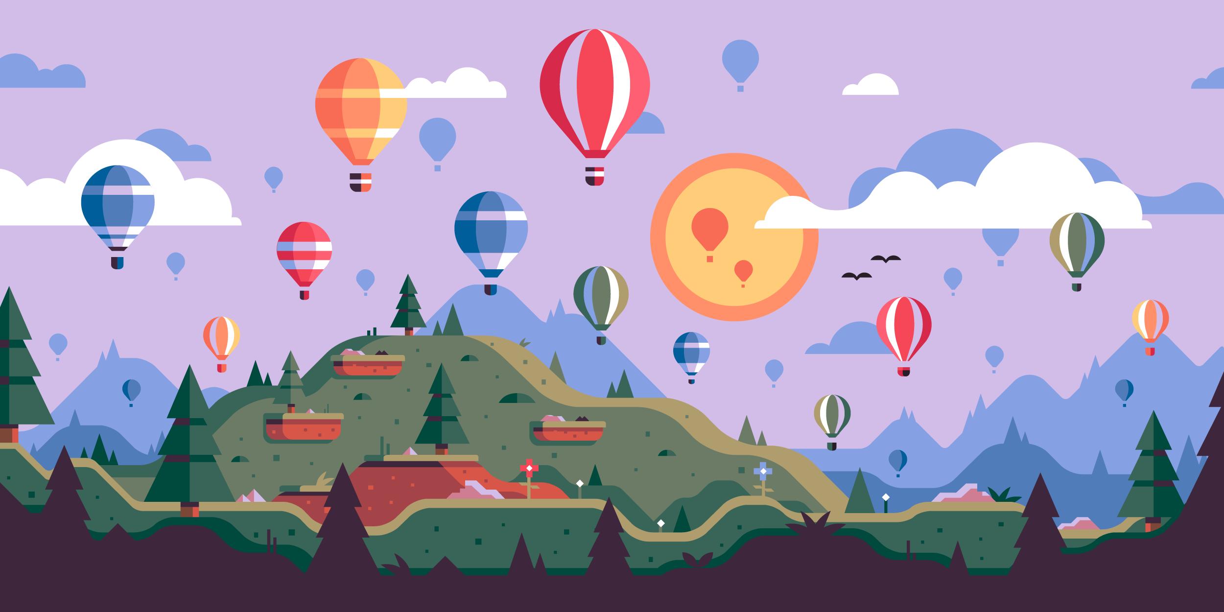 Hot air balloon landscape scene. Illustration by Matt Anderson.