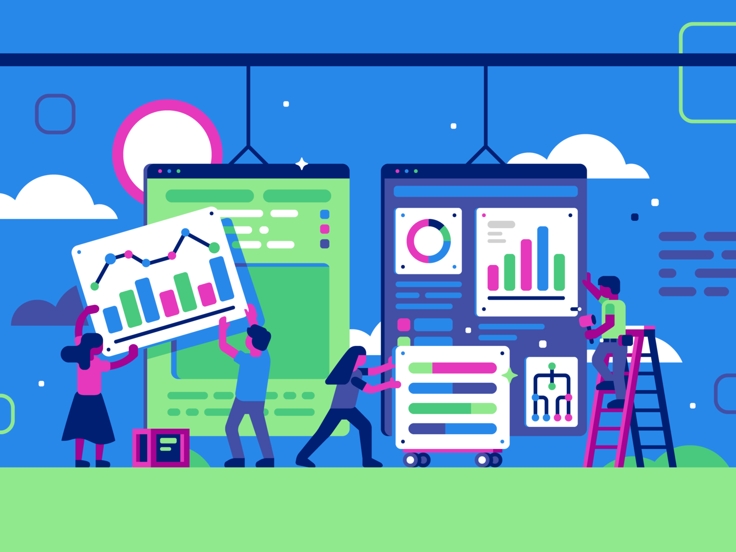Users building website as construction crew. Illustration by Matt Anderson.