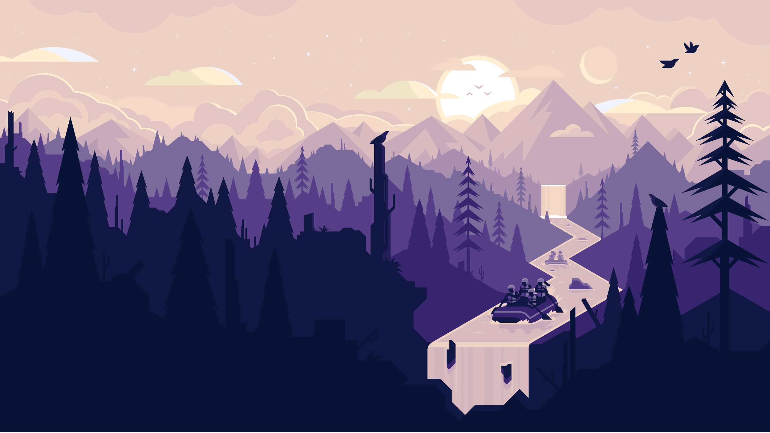 White water rafting sunset scene with limited color palette. Illustration by Matt Anderson.