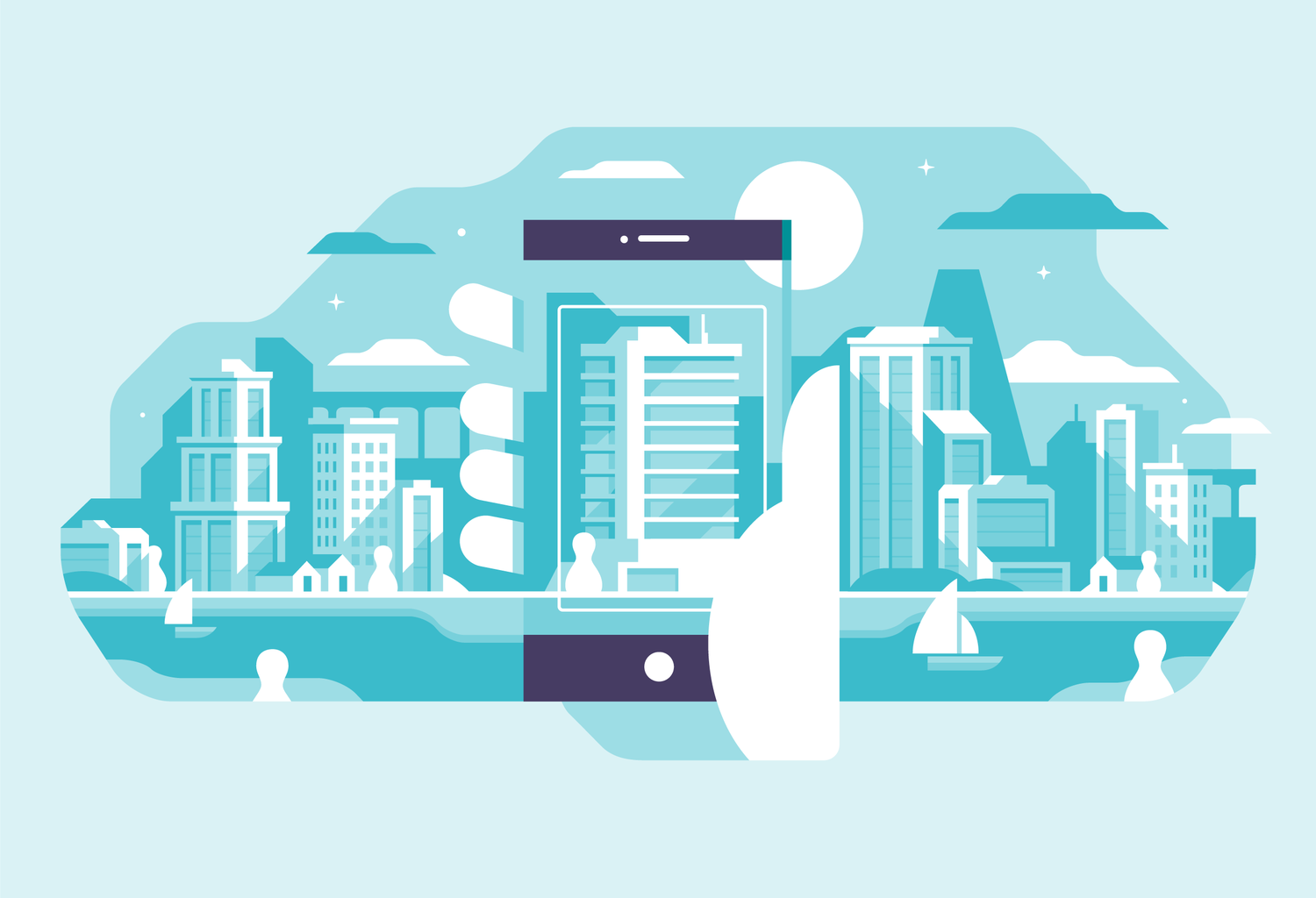 Hand holding camera phone taking photo of city skyline with limited color palette. Illustration by Matt Anderson.