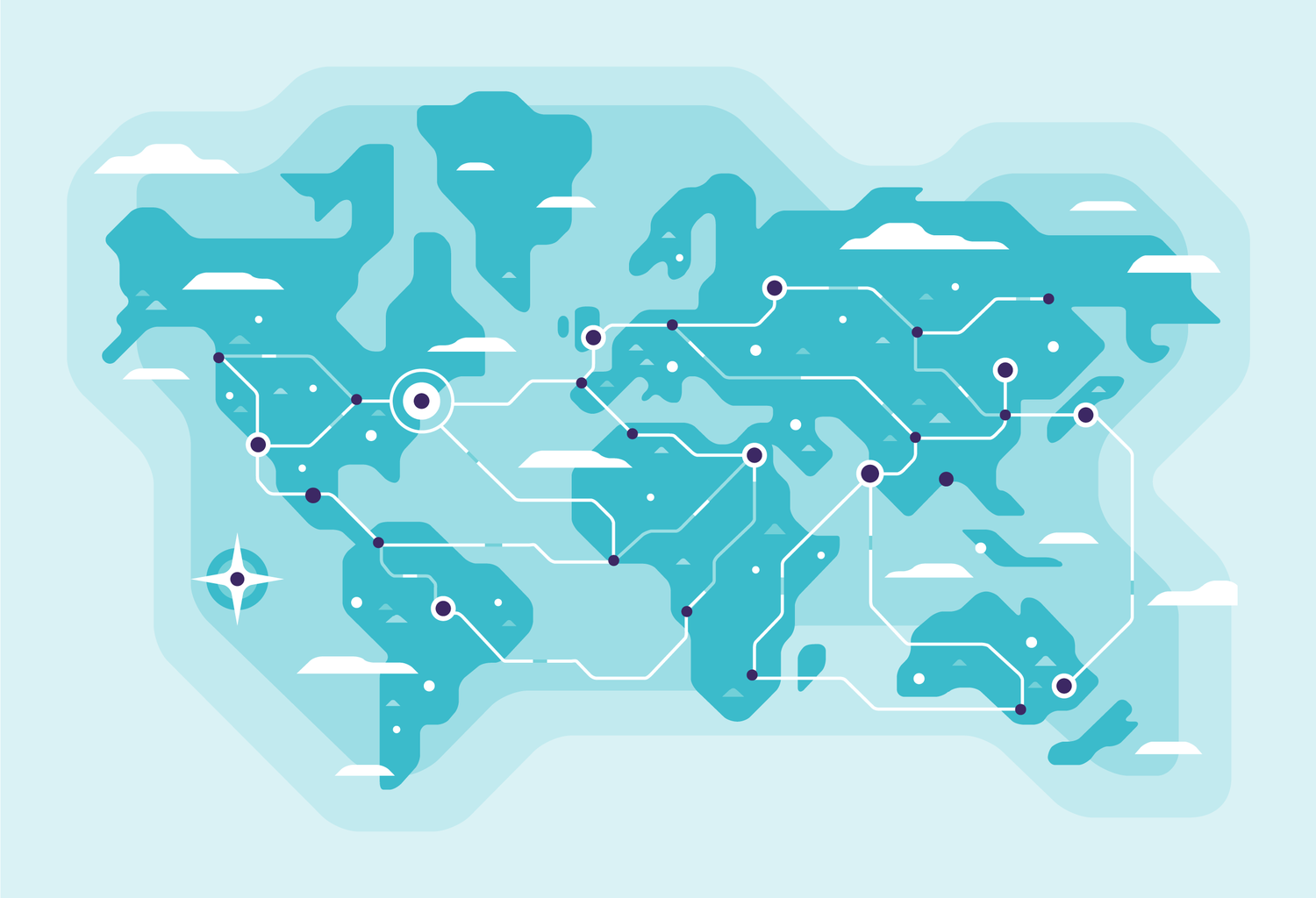 World map connected by network lines and circuitry. Illustration by Matt Anderson.