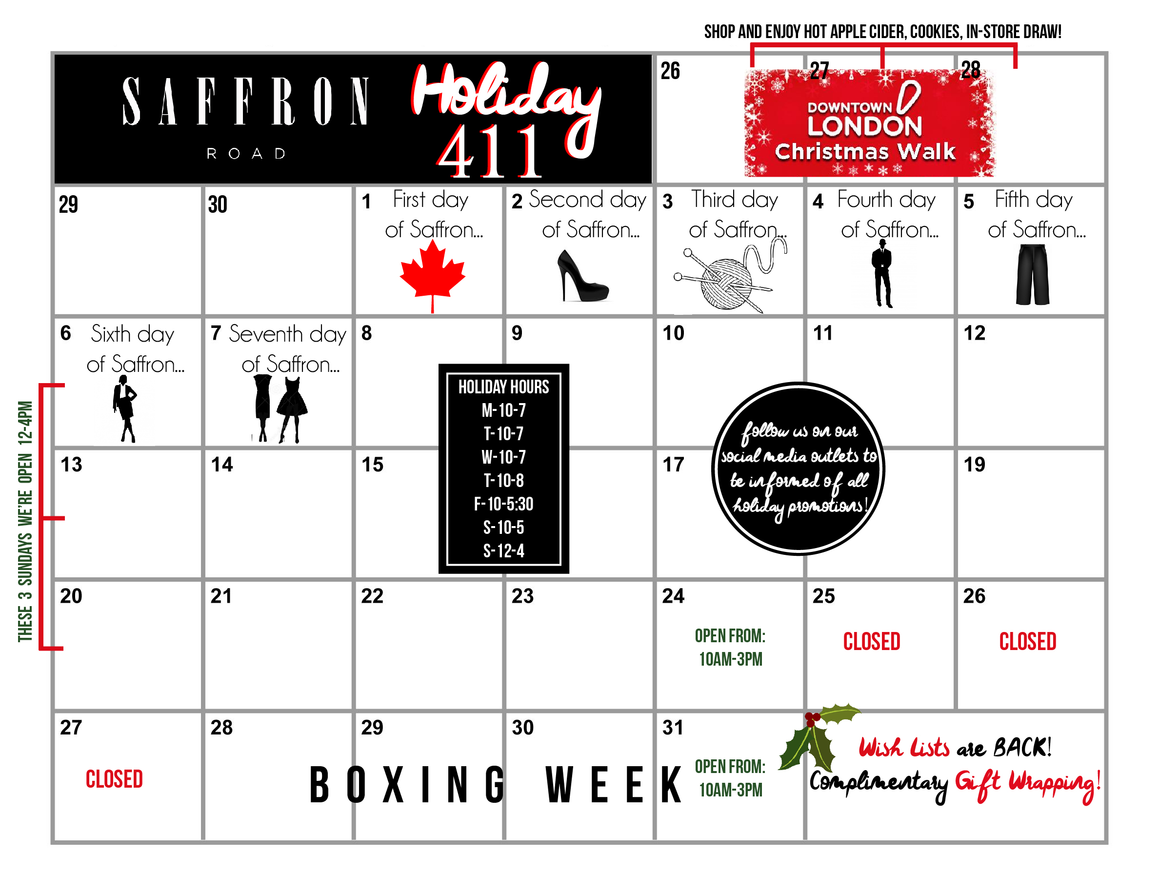 Click here  to read the Holiday 4-1-1 we sent out today!