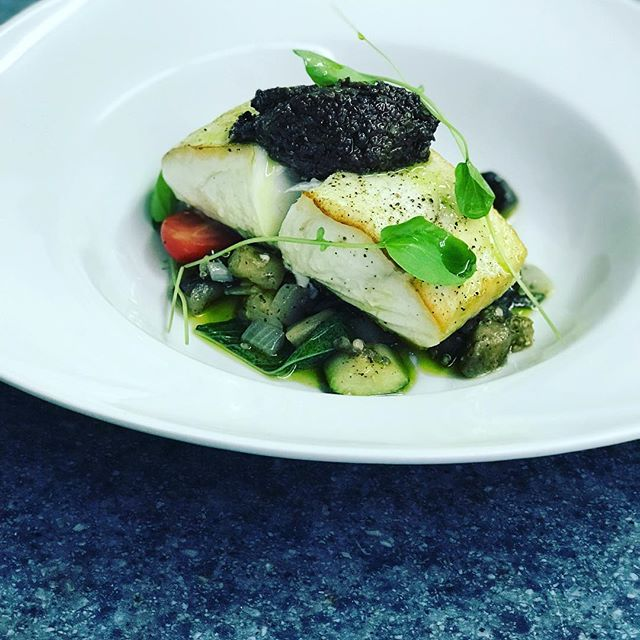 Pan Roasted Alaskan Halibut Filet, Ratatouille, Tapenade and Fresh Basil Oil... 07/05/2018...