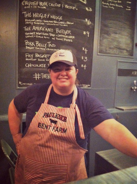 Kristin Smith - farmer, and co-owner of Wrigley Taproom. Photo credit:Community Farm Alliance