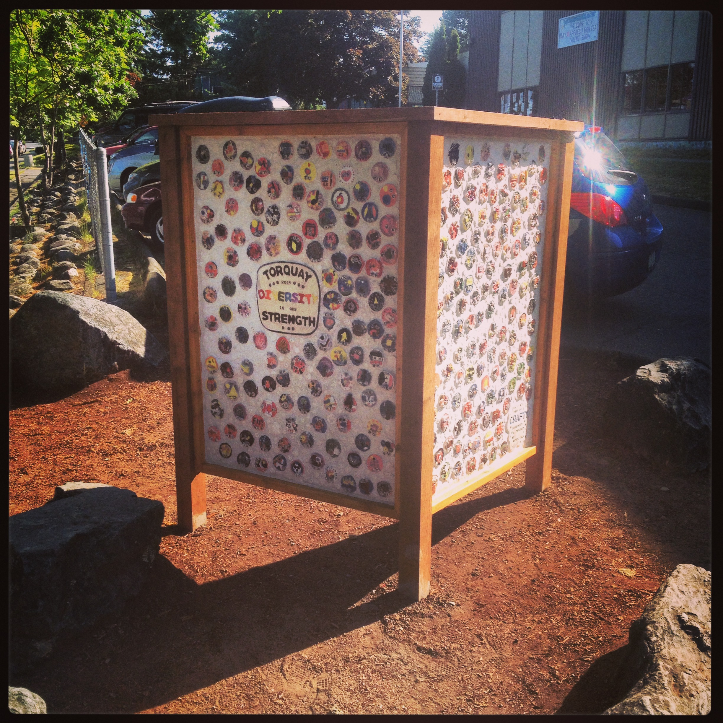 Torquay Elementary's 'Diversity Mosaic' proudly stands at the entrance to their school. It was funded through ArtStarts!