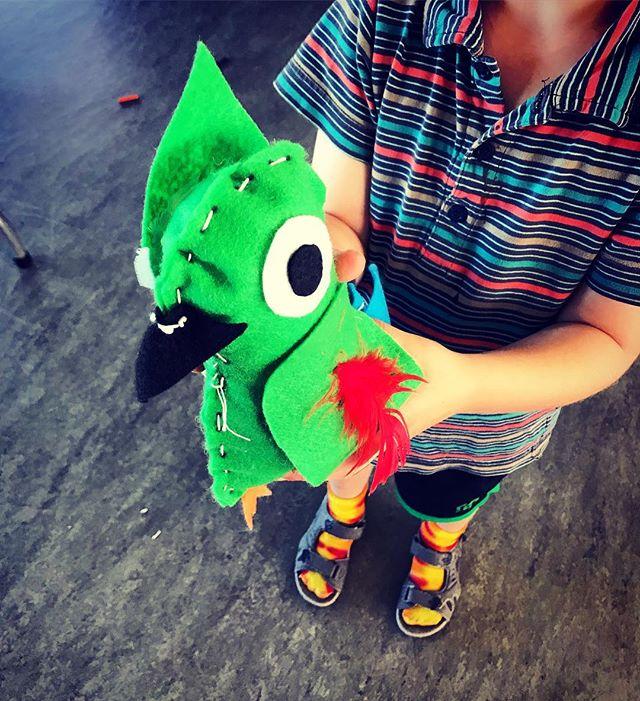 Parrot stuffies!! #totallytropical #craftycamp #fiveyearoldscansew