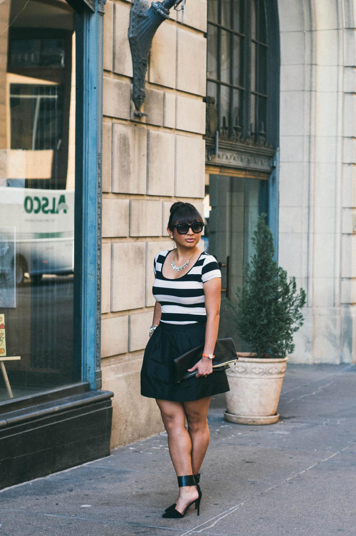 Dress: H&M | Skirt: J.Crew | Shoes: Zara | Clutch: American Apparel | Sunglasses: Tom Ford | Watch: Timex for J.Crew | Jewelry: Cara, Stella & Dot