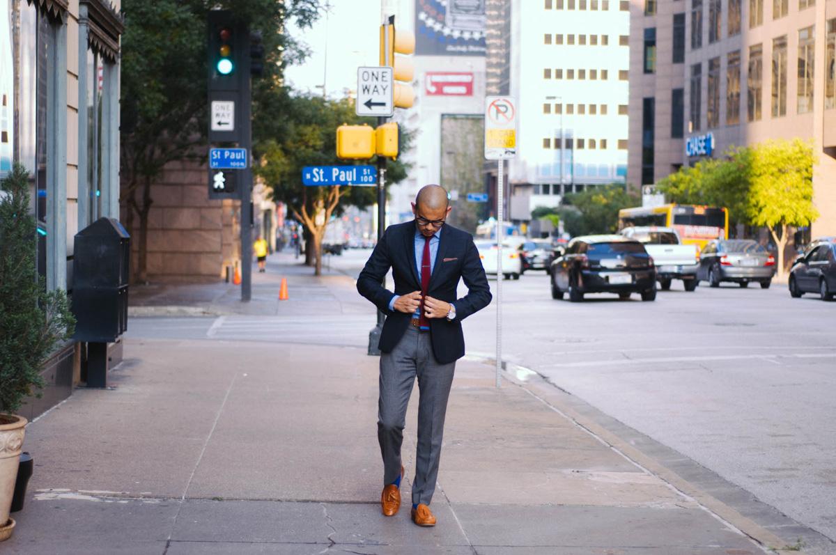 Jacket: H&M | Shirt: J.Crew | Pants: Vintage | Shoes: Mr B's | Tie, Tie Bar, and Pocket Square: The Tie Bar | Watch: Lucien Piccard | Glasses: Warby Parker