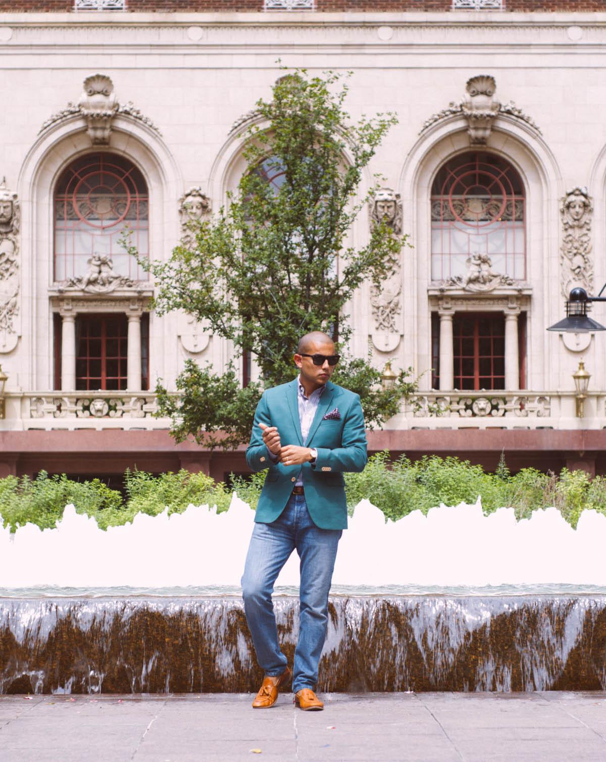 Jacket: H&M   Shirt: Merona   Jeans: Levis   Shoes: Mr. B's   Handkerchief: Nordstrom   Watch: Omega   Sunglasses: RayBan   Belt: Vintage