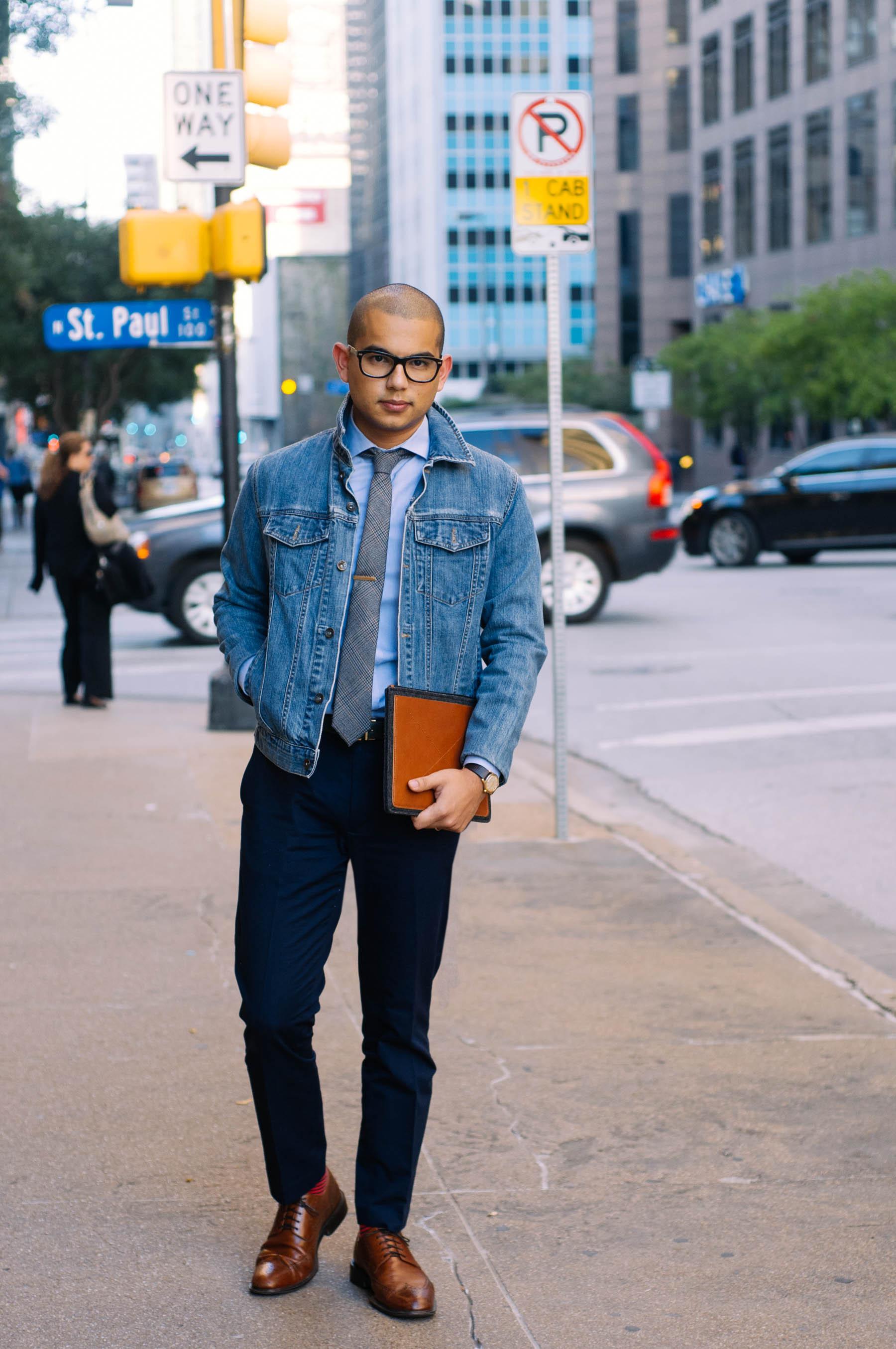 Jacket: Vintage | Pants: J.Crew | Shirt: H&M | Tie: The Tie Bar | Tie Clip: The Tie Bar | Belt: American Apparel | Shoes: Cole Haan | Socks: J.Crew | Glasses: Warby Parker | Watch: Omega
