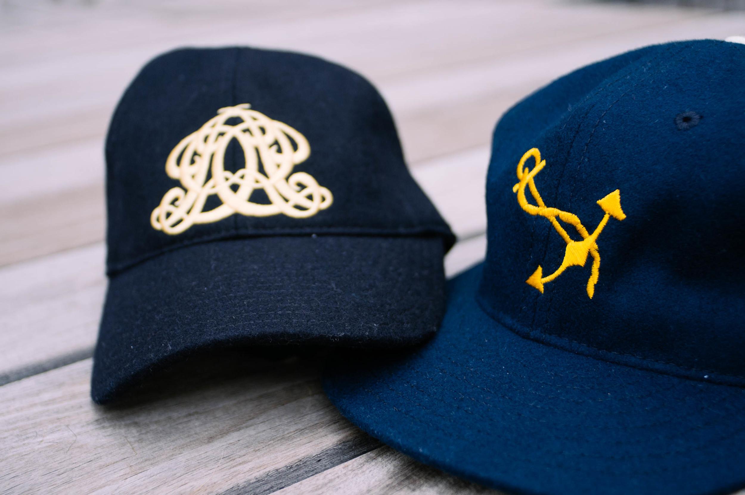 HIS (right):   Ebbets Field Flannels  baseball hat: J.Crew |  HER (left):  Embroidered emblem baseball hat: J.Crew