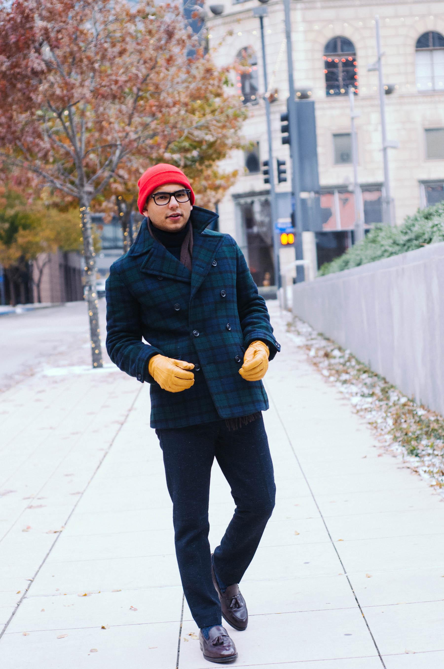 Coat: UNIQLO| Pants: H&M | Turtleneck: J.Crew | Shoes: Alden (similar  here ) | Scarf: Merona |Socks: J.Crew | Glasses: Warby Parker (similar  here ) | Gloves: Jack Spade Watch: Aeromatic 1912