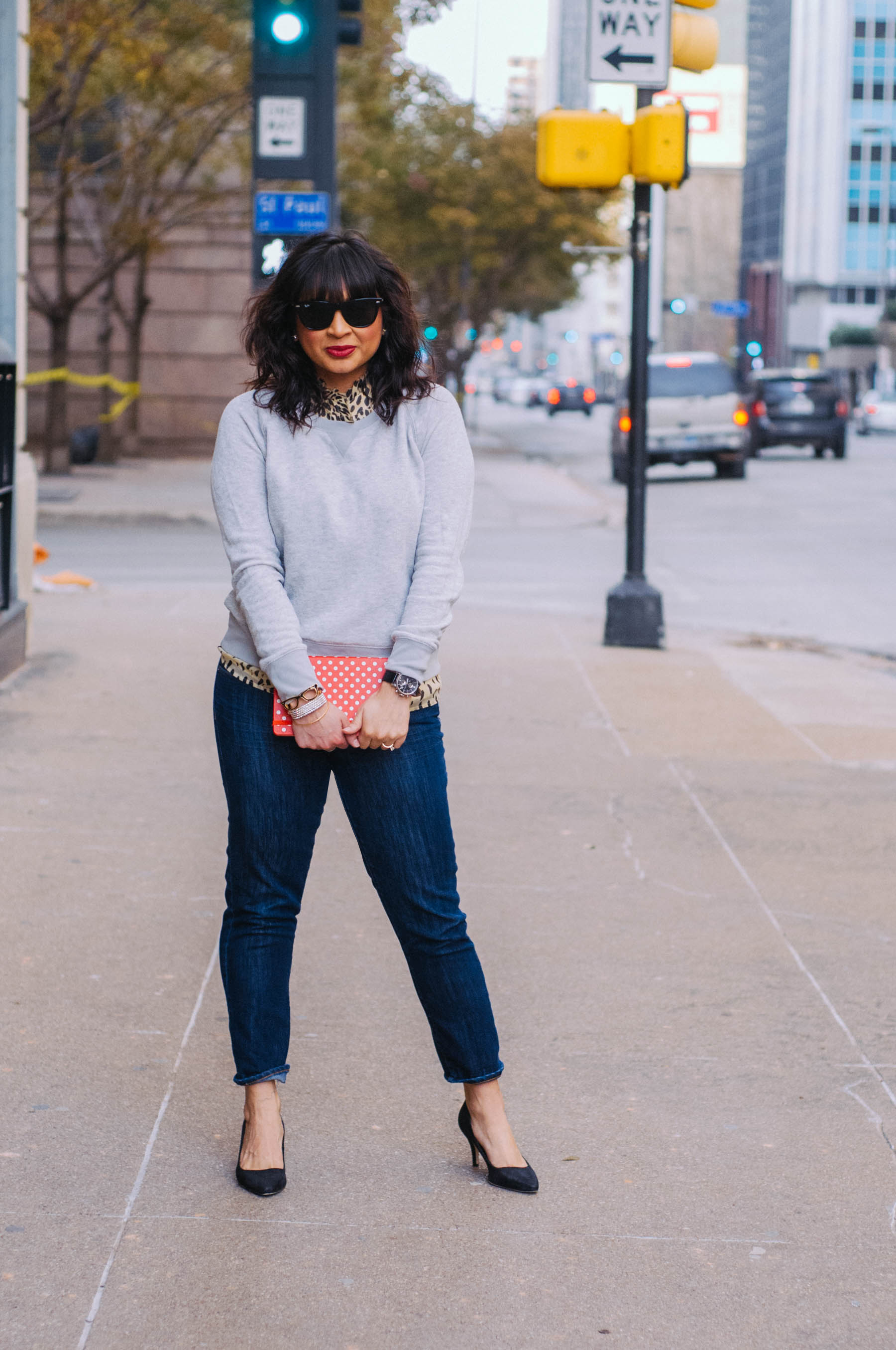 Sweater:  Mossimo  | Blouse:  J.Crew  | Jeans:  J.Crew (Toothpick)  | Shoes: H&M (similar  here ) | Sunglasses:  RayBan  | Jewelry:  Cara ,  Kate Spade , Heirloom | Watch: Fossil (old, but similar  here )