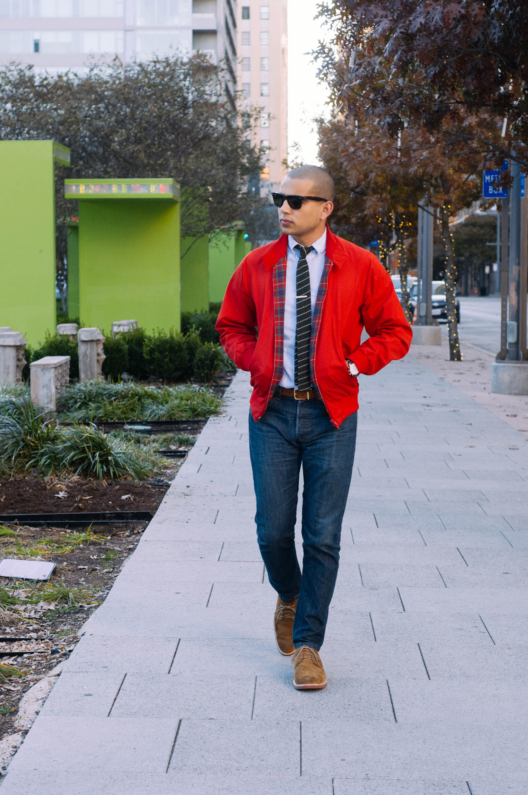 Jacket:  Baracuta for J.Crew  | Shirt:  J.Crew  | Jeans:  Levi's  | Shoes: Sperry Gold Cup (similar  here ) | Tie: Billy Reid (similar  here ) | Belt: American Apparel | Sunglasses:  RayBan  | Tie Clip: The Tie Bar | Watch: Lucien Piccard | Socks: Merona