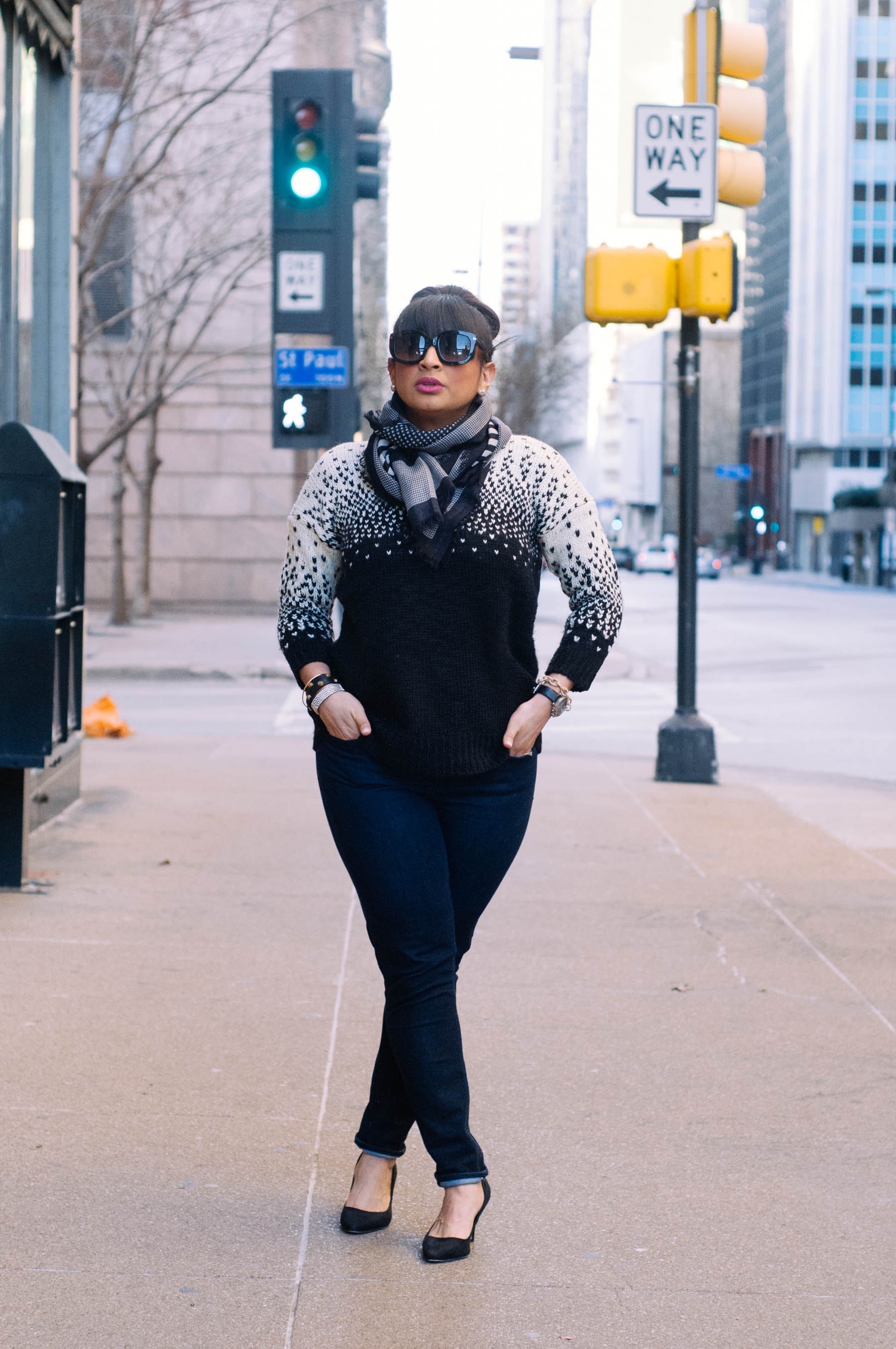 Sweater: Madewell (similar  here ) | Scarf: Madewell (also love  this one ) | Jeans:  Madewell  | Shoes: H&M (similar  here ) | Jewelry:  J.Crew Factory , Stella & Dot, Cara | Watch: Fossil (similar  here ) | Sunglasses:  Tom Ford