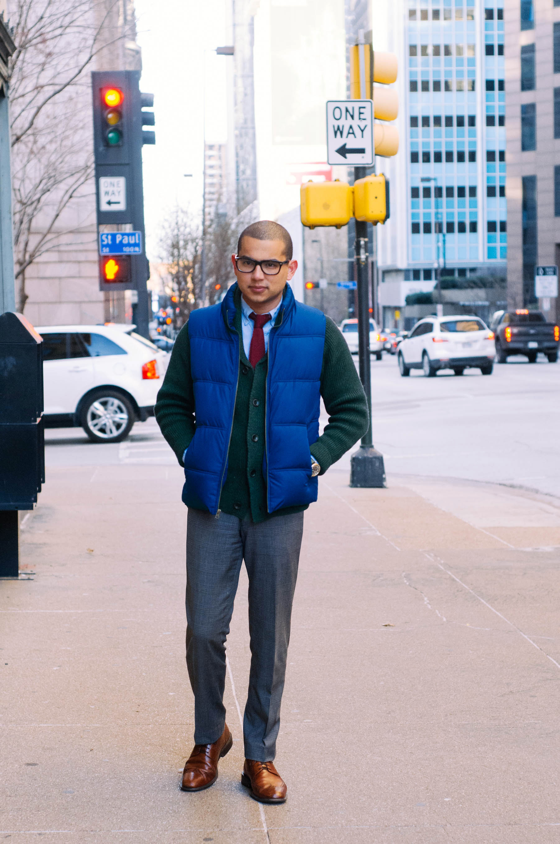 Vest: Merona (similar  here )   Sweater: H&M (similar  here )   Shirt: American Apparel (also love  this one )   Tie: The Tie Bar (similar  here )   Pants: Express (ca. 2005) ( these  are great too)   Shoes: Cole Haan (similar  here )   Glasses:  Warby Parker    Watch:  Shinola