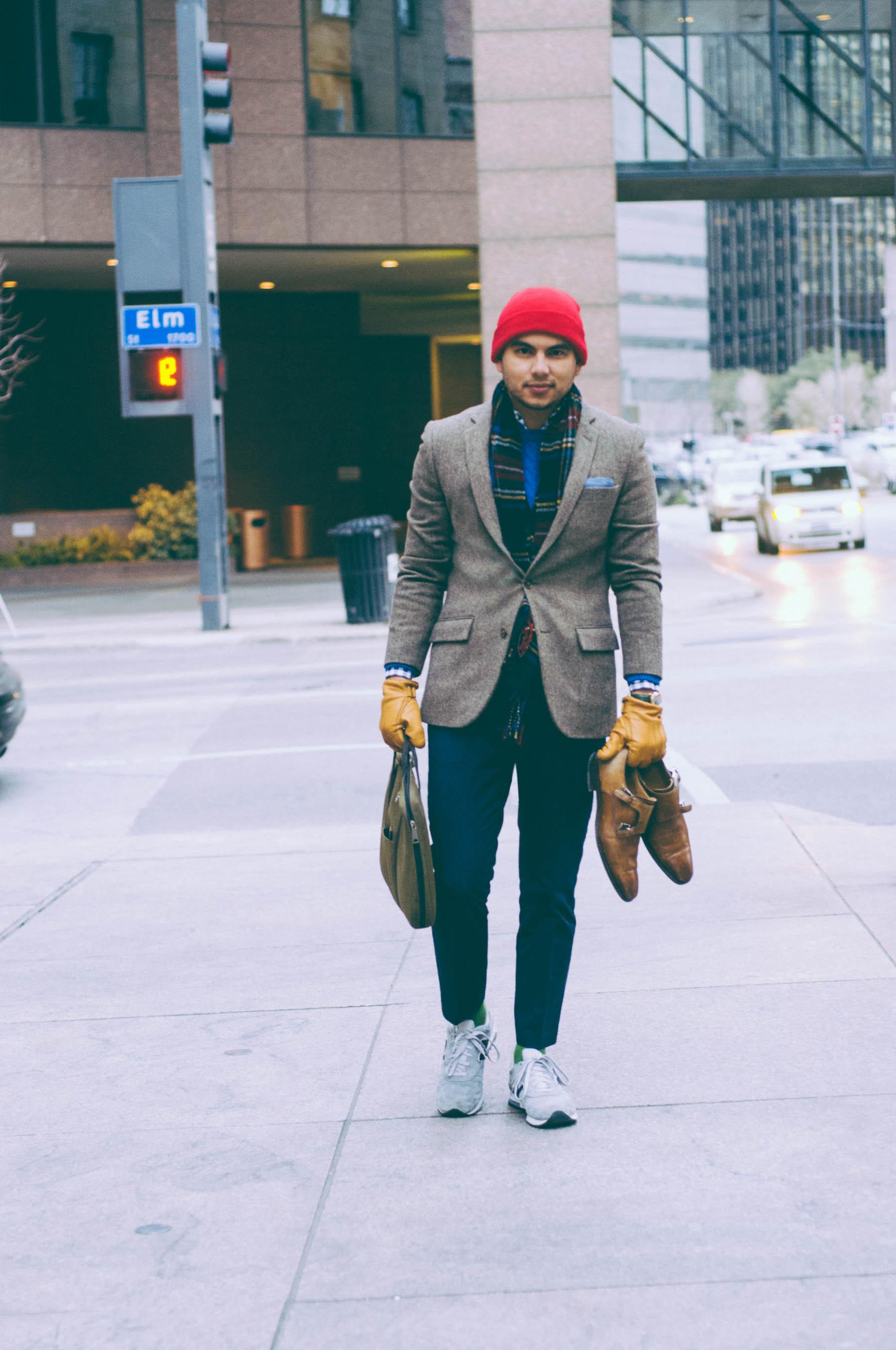Blazer: J.Crew   Sweater: H&M (similar here)   Shirt: J.Crew   Pants: J.Crew   Shoes:  New Balance x J.Crew    Socks: J.Crew   Scarf: Polo Ralph Lauren   Shoes (in hand): Magnanni   Bag: Jack Spade   Beanie: similar here   Pocket Square: The Tie Bar   Gloves: Jack Spade   Watch: Shinola