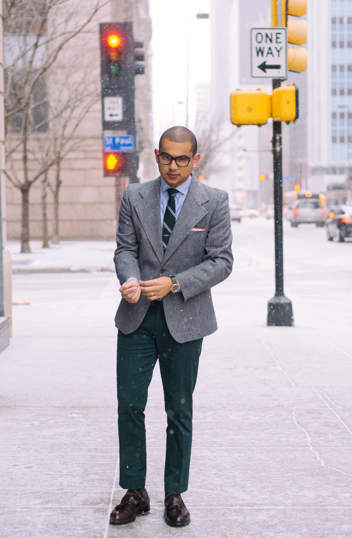 Blazer: Yves Saint Laurent (vintage) | Shirt: H&M (just like  this one ) | Pants: H&M (similar  here ) | Tie: J.Crew (just like  this one ) | Tie Bar:  David Donahu  | Shoes: Alden (very similar  here ) | Socks:  J.Crew  | Glasses:  Warby Parker  | Watch:  Shinola