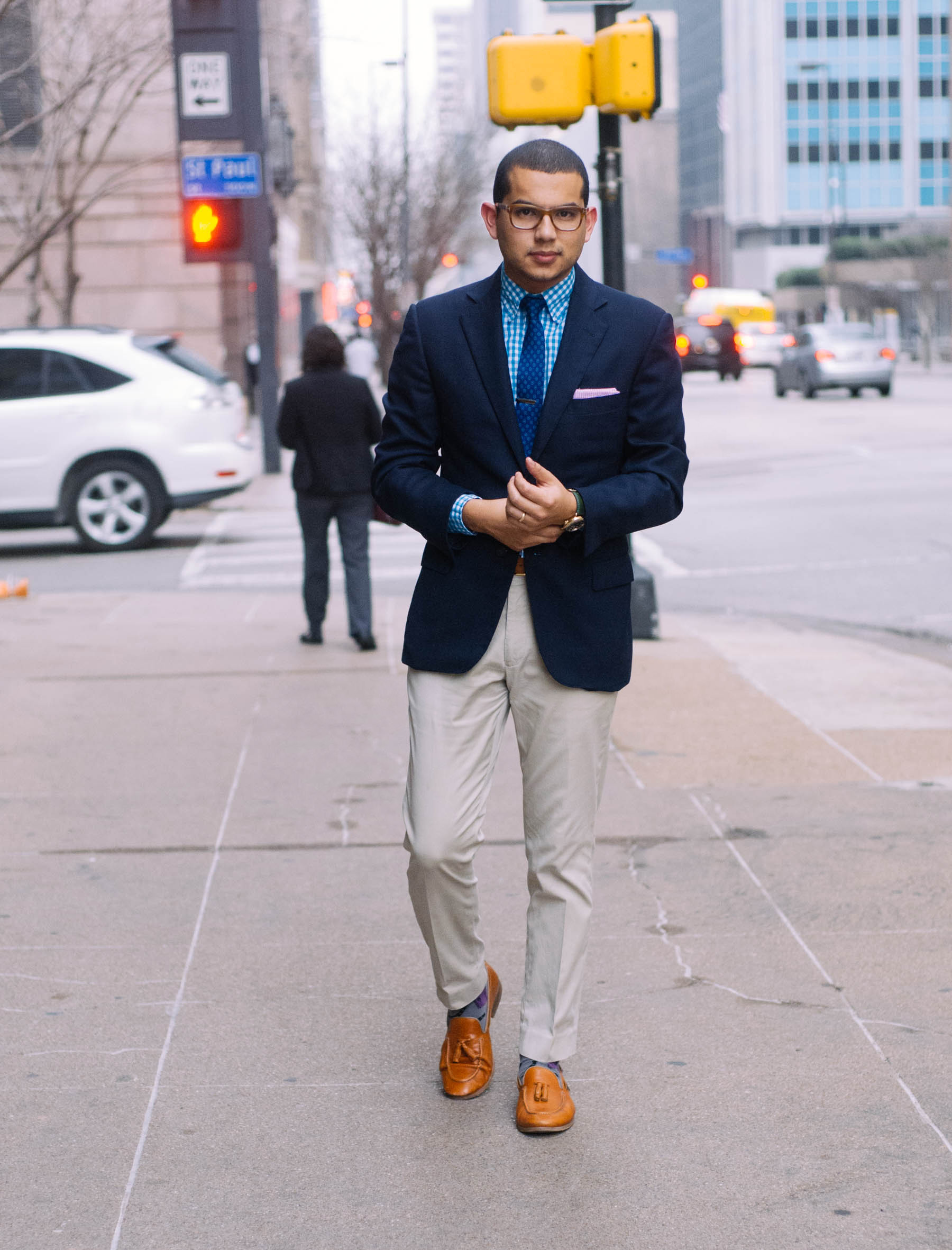 Jacket:  Ermenegildo Zegna  | Pants:  J.Crew  | Shirt: J.Crew (similar  here ) | Tie: J.Crew (similar  here ) | Tie Clip: The Tie Bar (also love  this one ) | Shoes: Mr. B's (similar  here ) | Glasses:  Tom Ford  | Watch:  Shinola  | Pocket Square: Brooks Brothers (exact same thing  here )